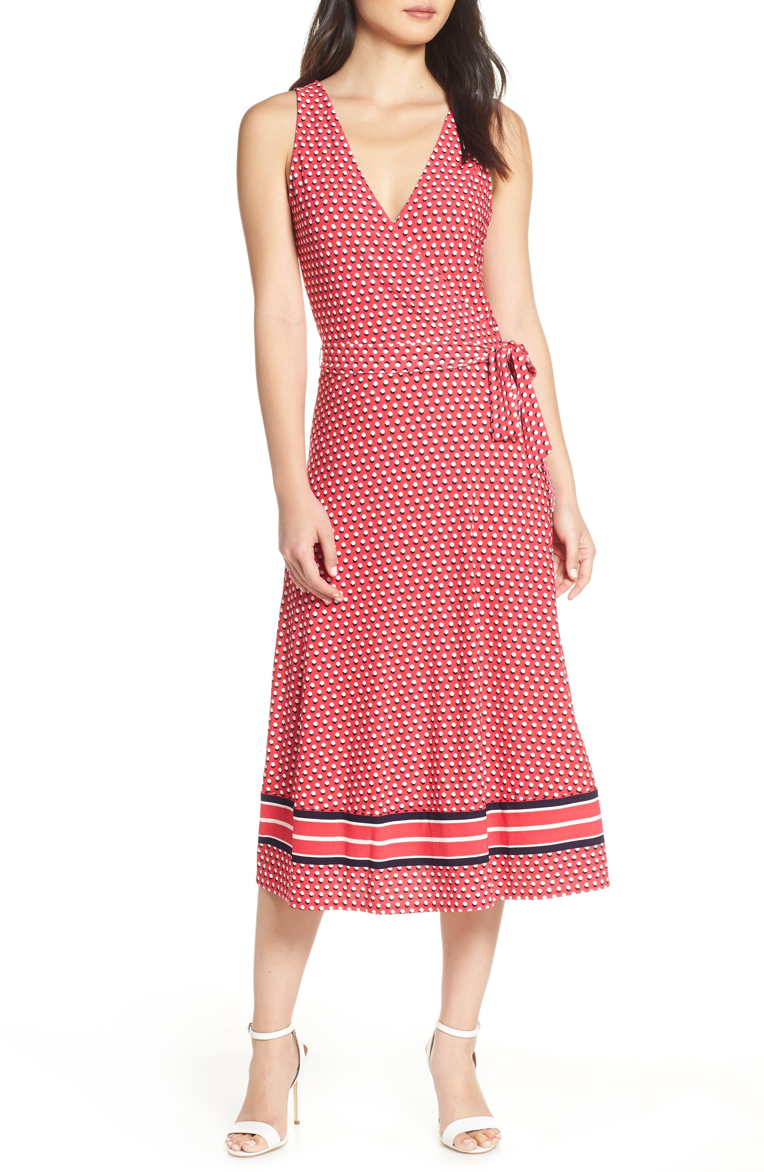 Leota Justine Border Print Wrap Dress, Red