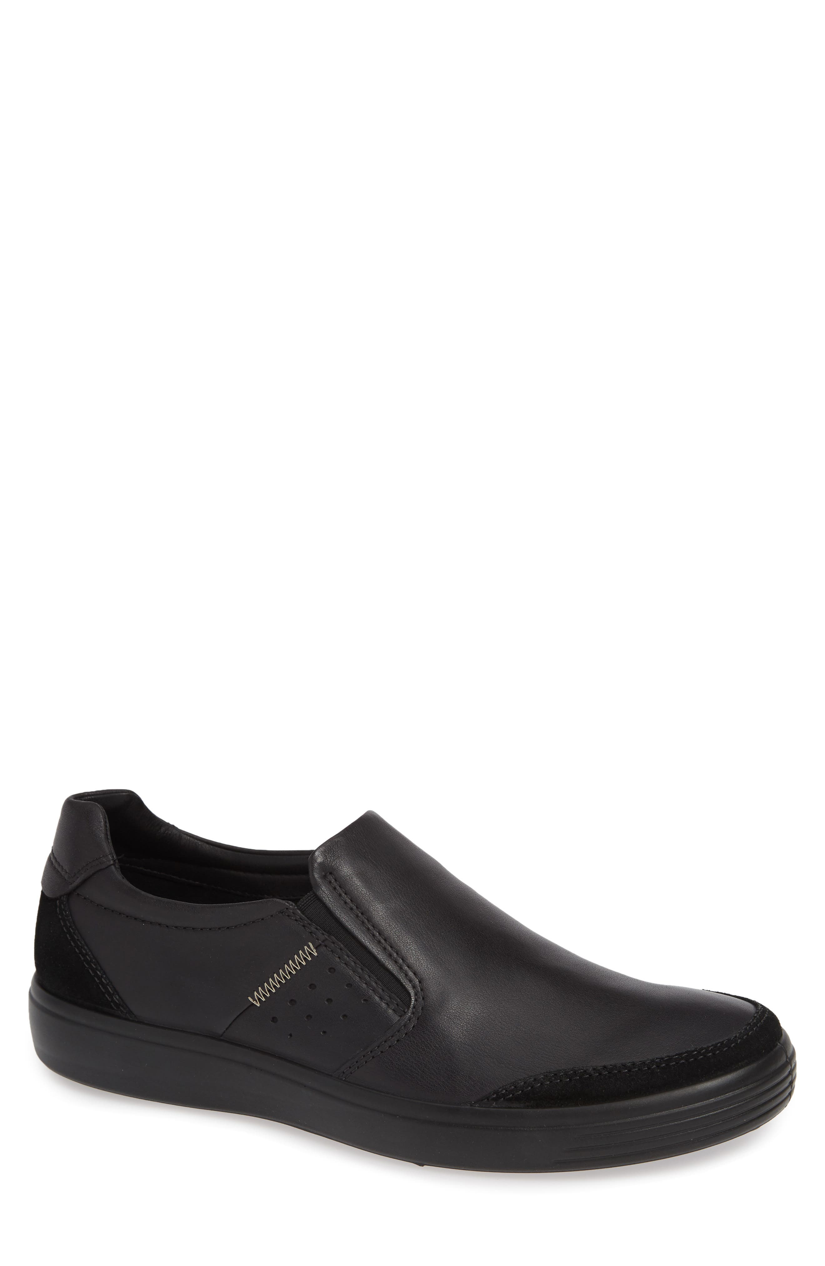 ECCO Soft 7 Relaxed Slip-On, Main, color, BLACK LEATHER