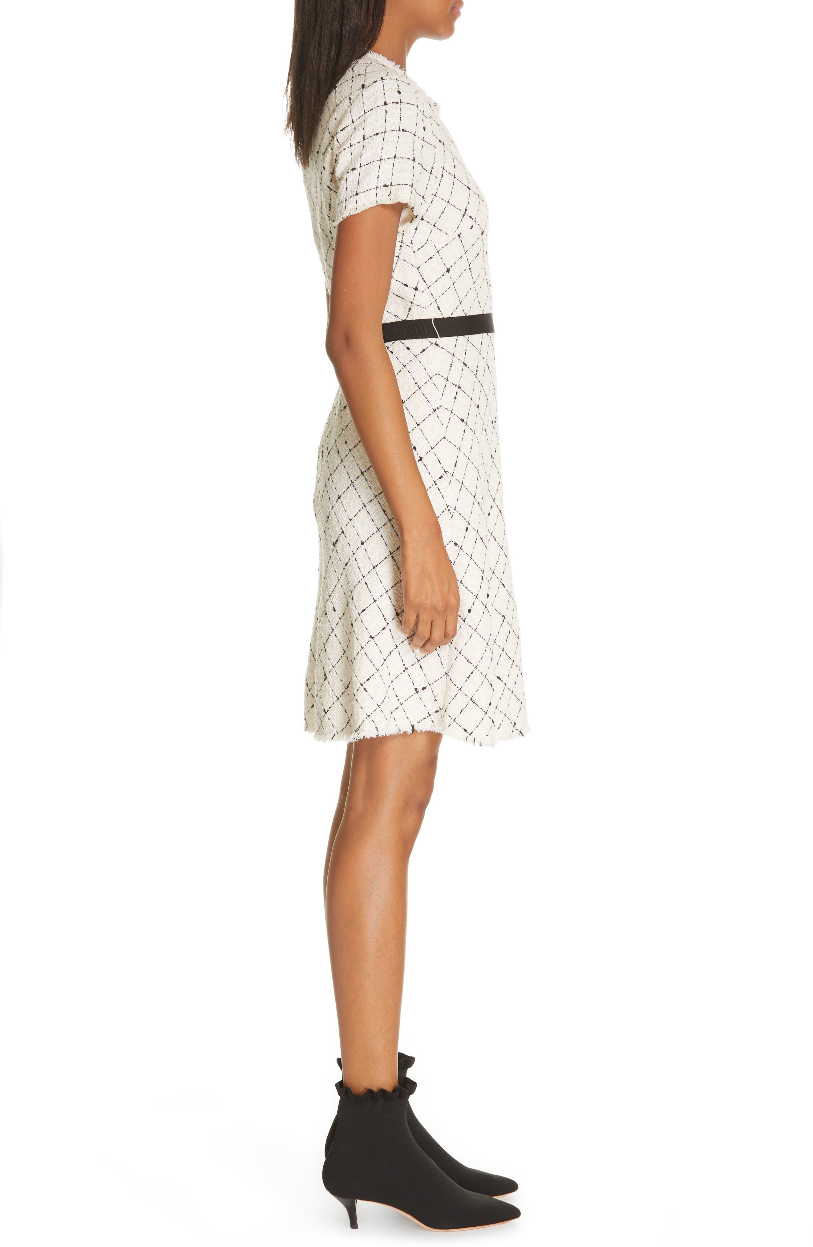 REBECCA TAYLOR, Plaid Tweed Dress, Alternate thumbnail 4, color, CREAM COMBO