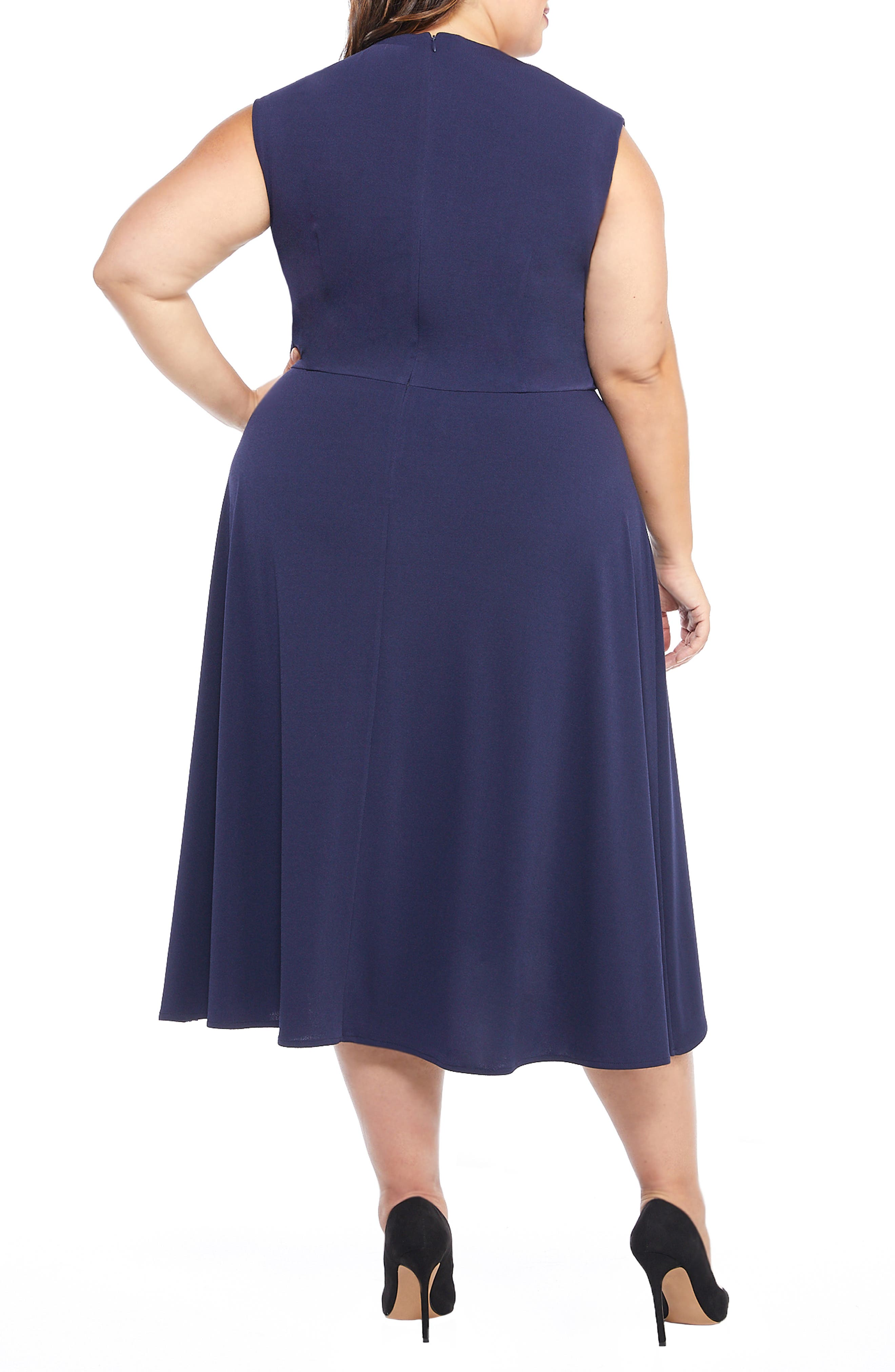 MAGGY LONDON, Crystal Side Drape Crepe Midi Dress, Alternate thumbnail 2, color, 460