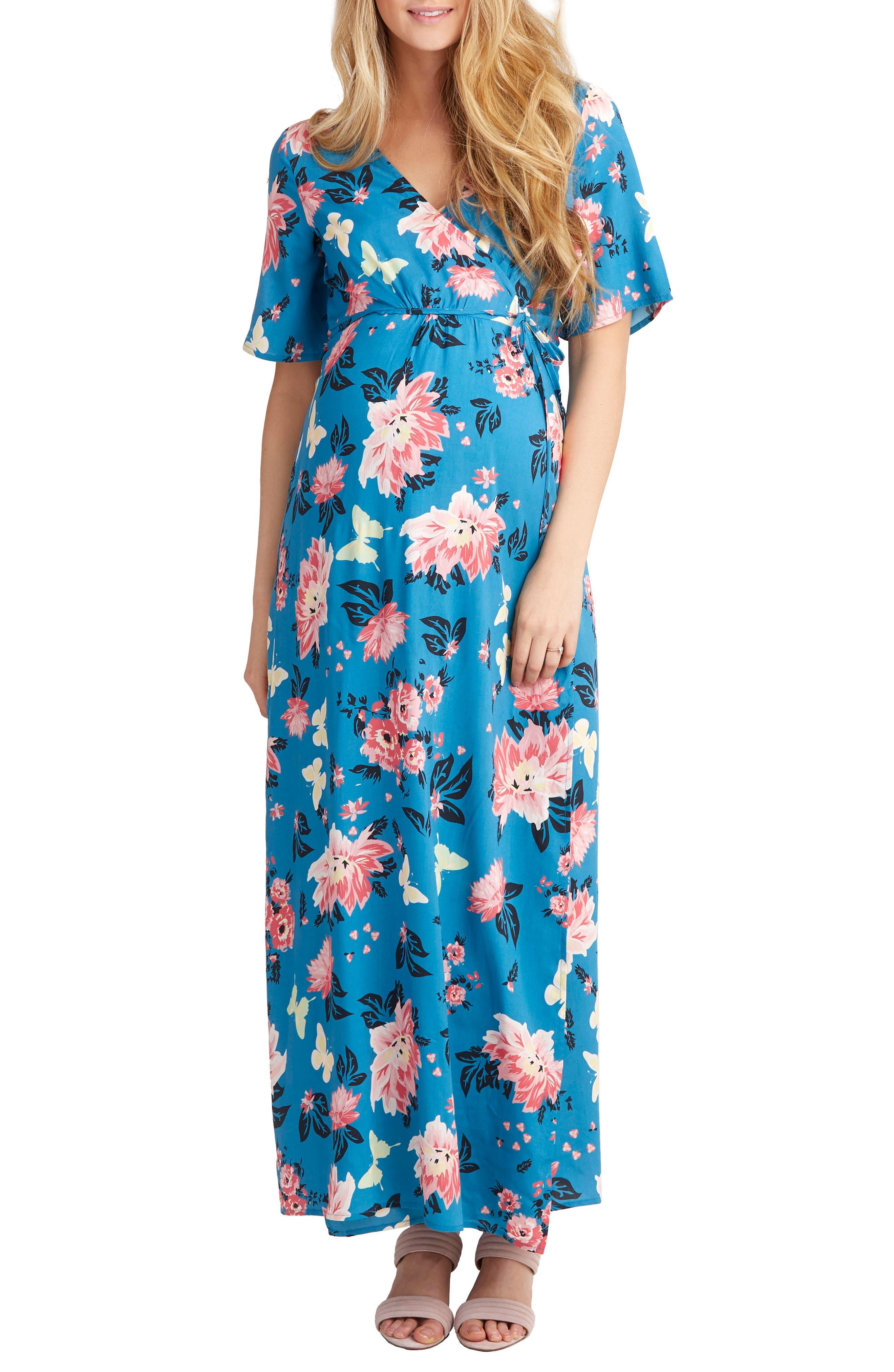 Nom Maternity Landon Maxi Wrap Maternity/nursing Dress, Blue