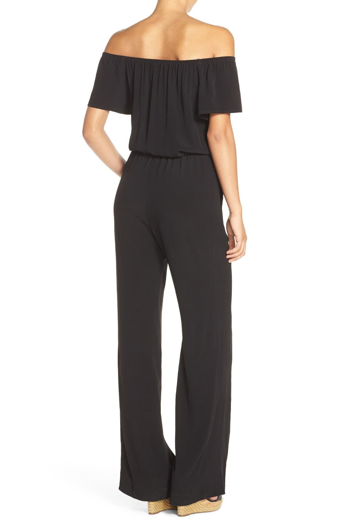 CHARLES HENRY, Off the Shoulder Wide Leg Jumpsuit, Alternate thumbnail 6, color, BLACK