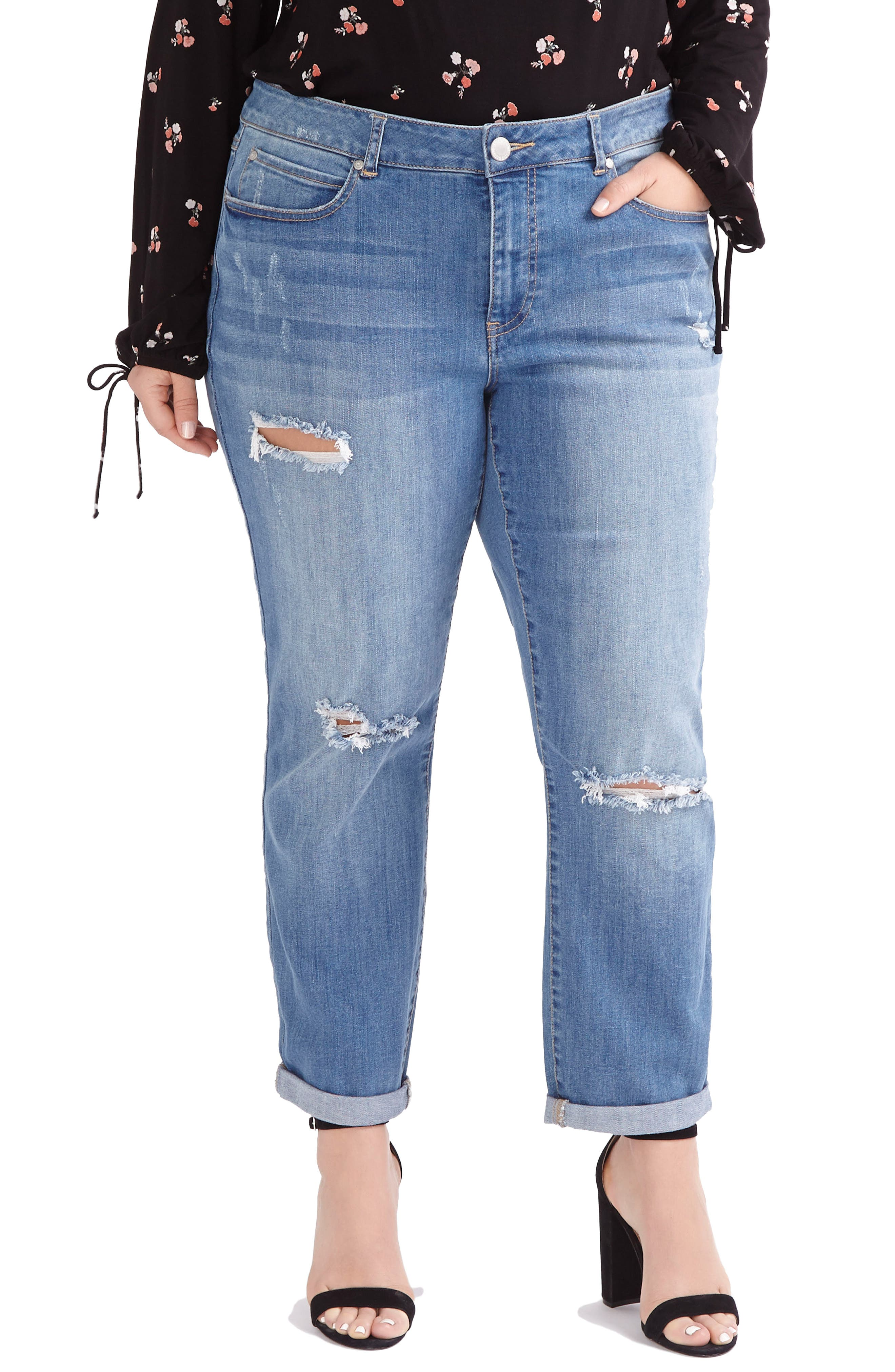 ADDITION ELLE LOVE AND LEGEND, Ripped Boyfriend Jeans, Main thumbnail 1, color, 450