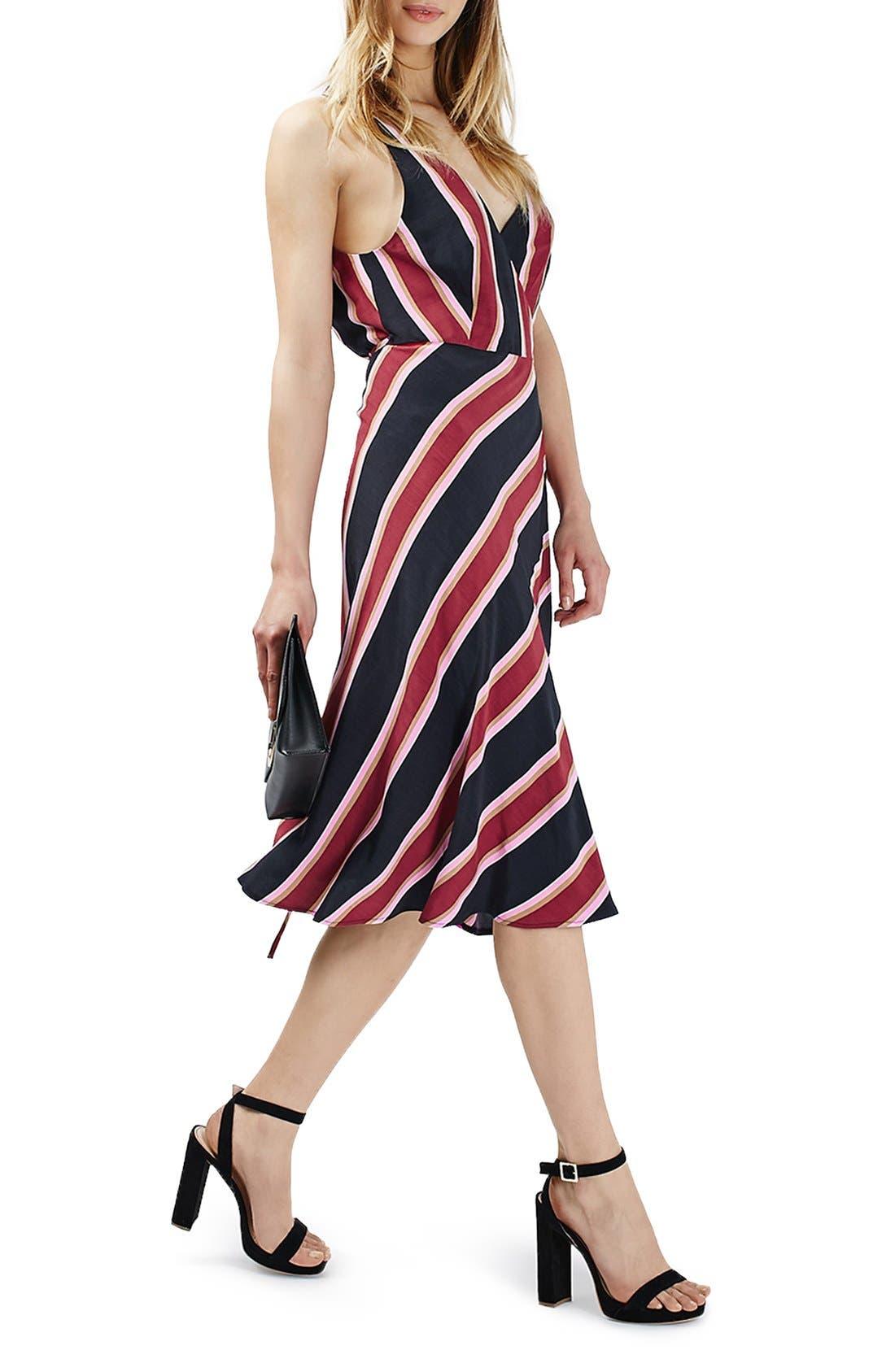 TOPSHOP Stripe Midi Wrap Slipdress, Main, color, 410