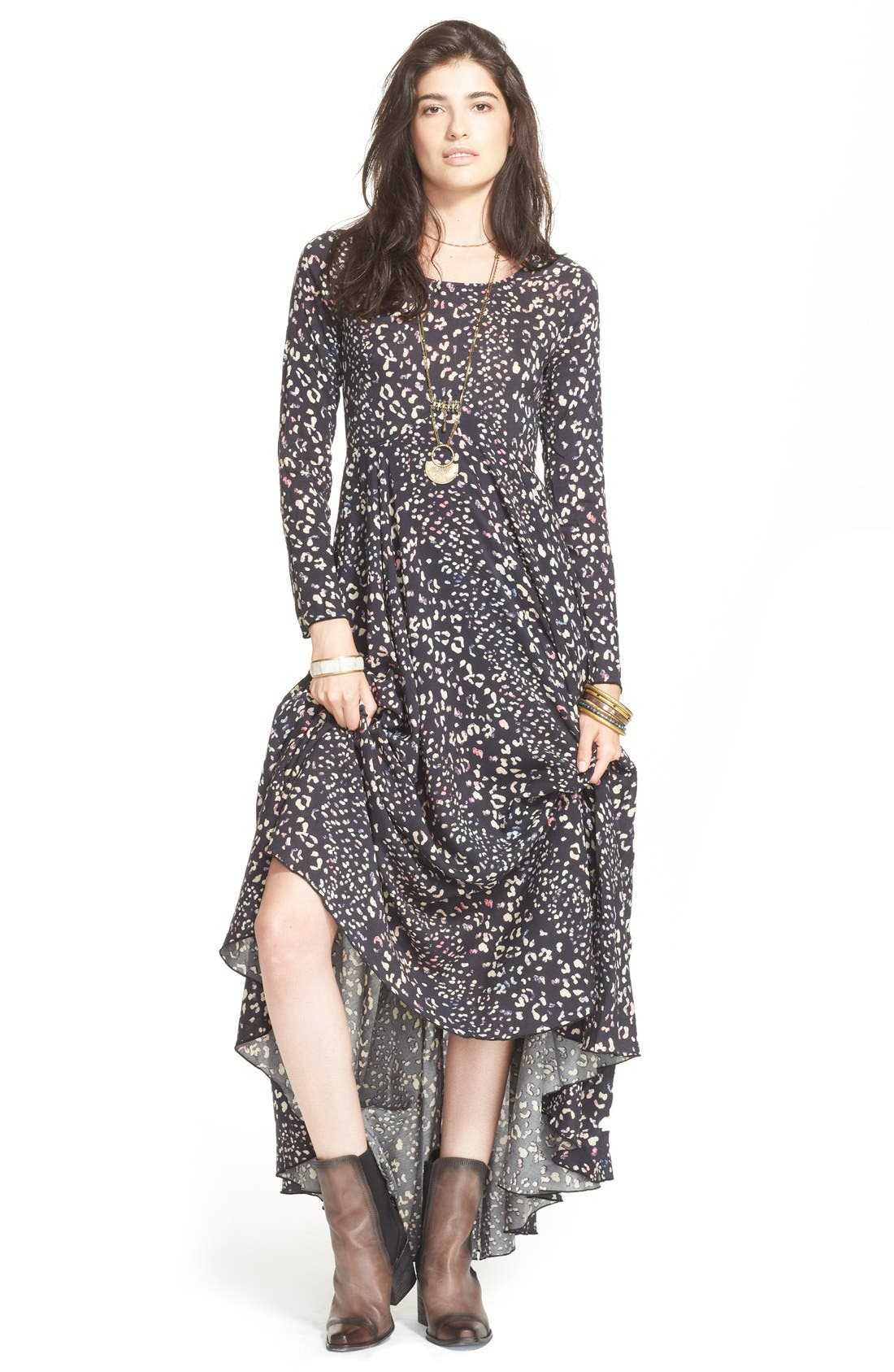 FREE PEOPLE, 'First Kiss' Maxi Dress, Main thumbnail 1, color, 001