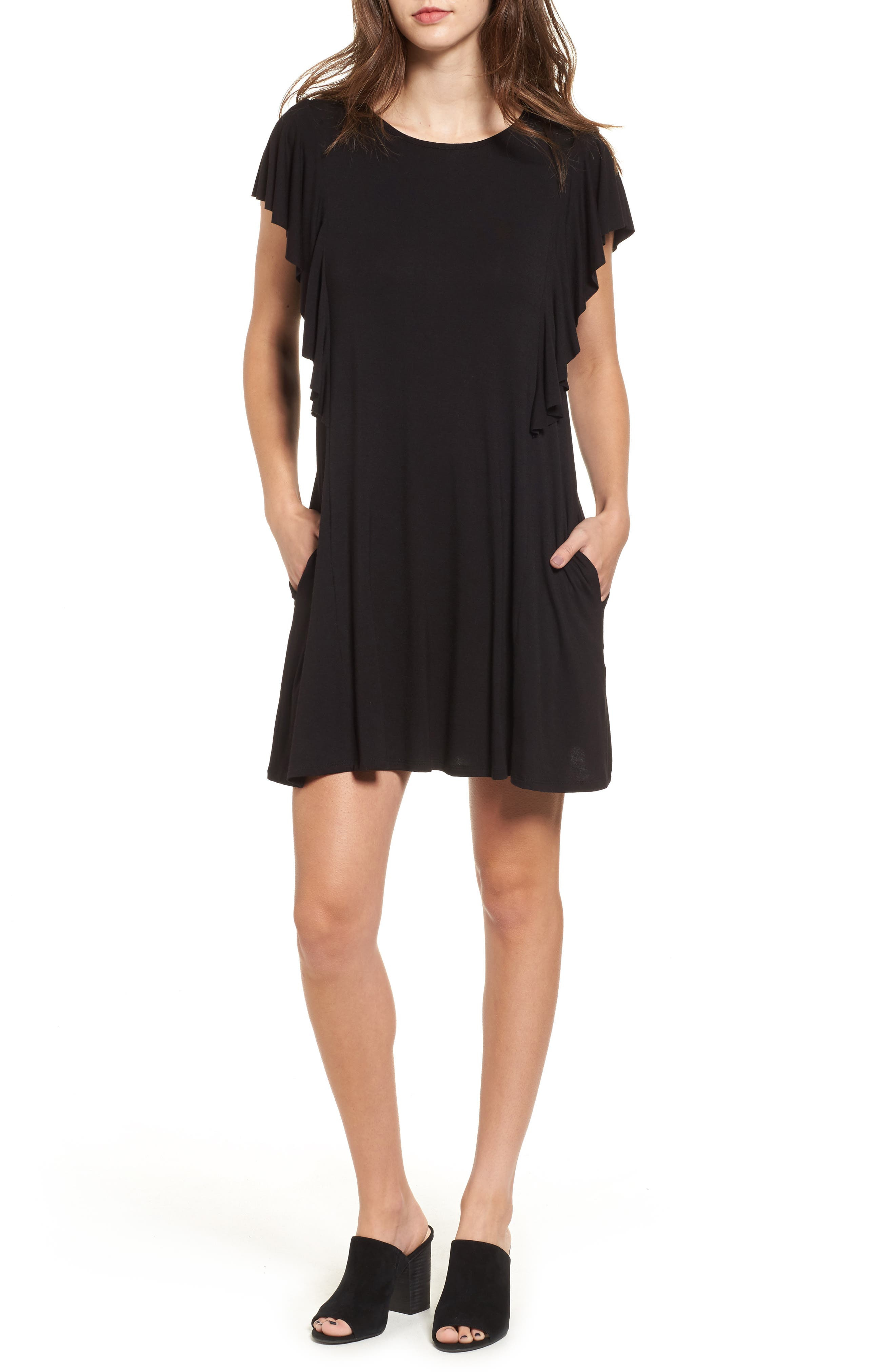 SOCIALITE, Ruffle Sleeve T-Shirt Dress, Main thumbnail 1, color, 001