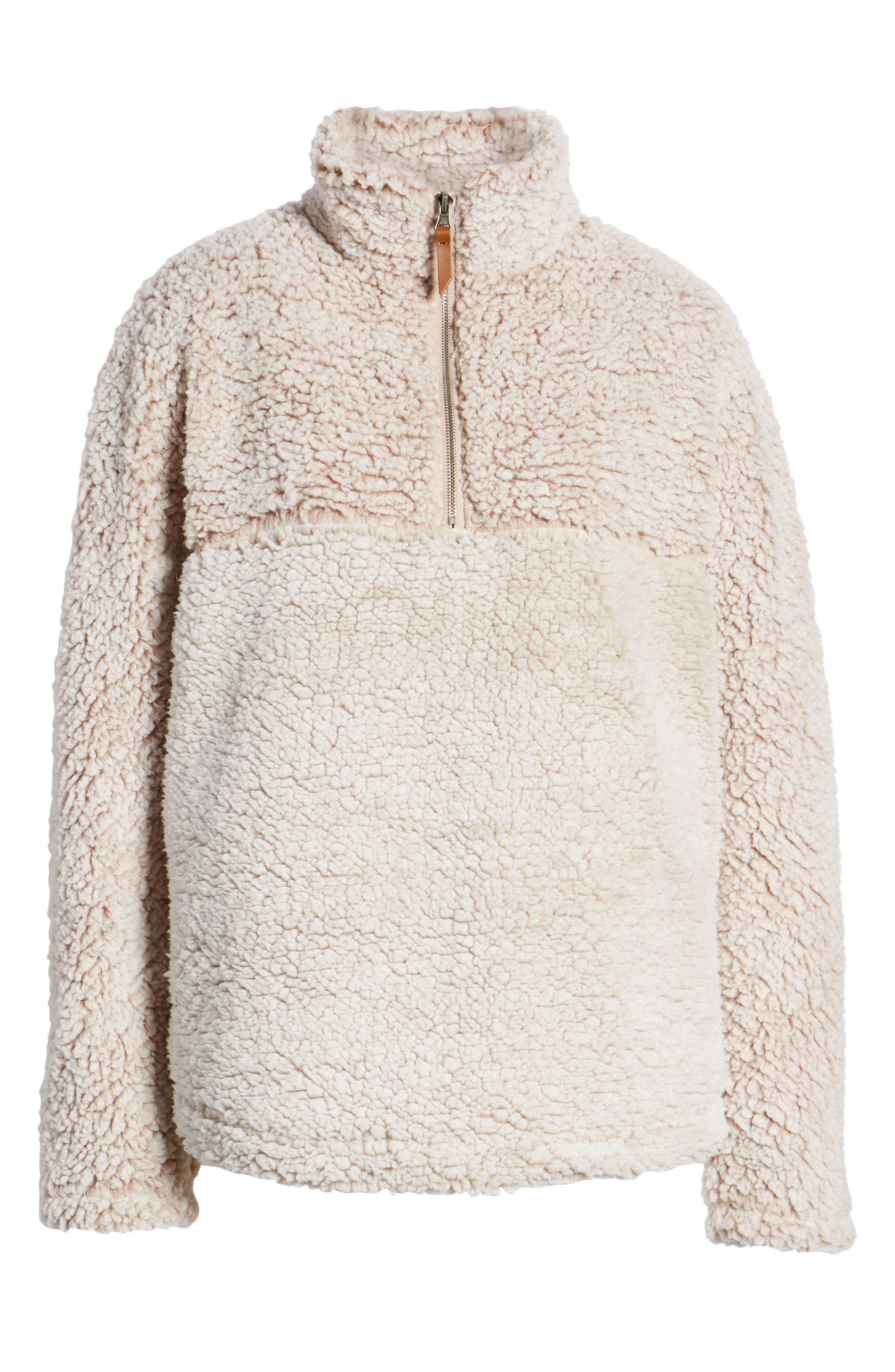 THREAD & SUPPLY, Colorblock Wubby Fleece Pullover, Alternate thumbnail 6, color, SMOKE ROSE IVORY