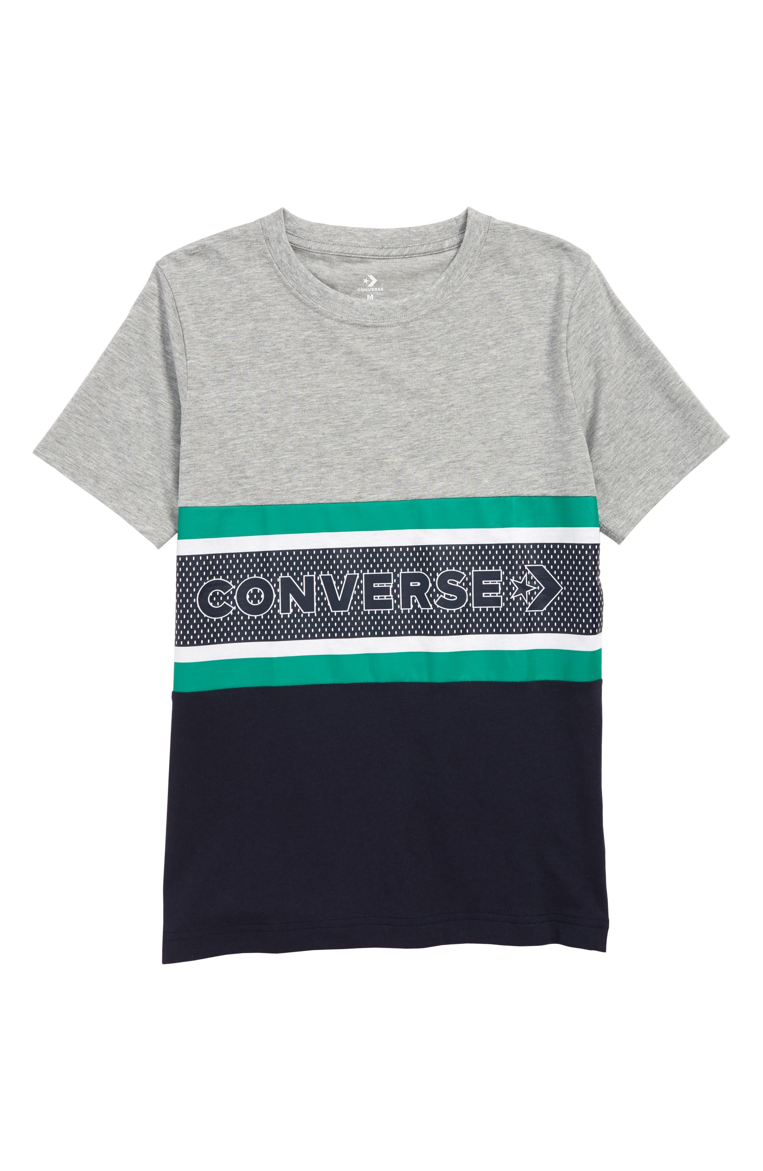 CONVERSE, Retro Striped T-Shirt, Main thumbnail 1, color, DARK GREY HEATHER