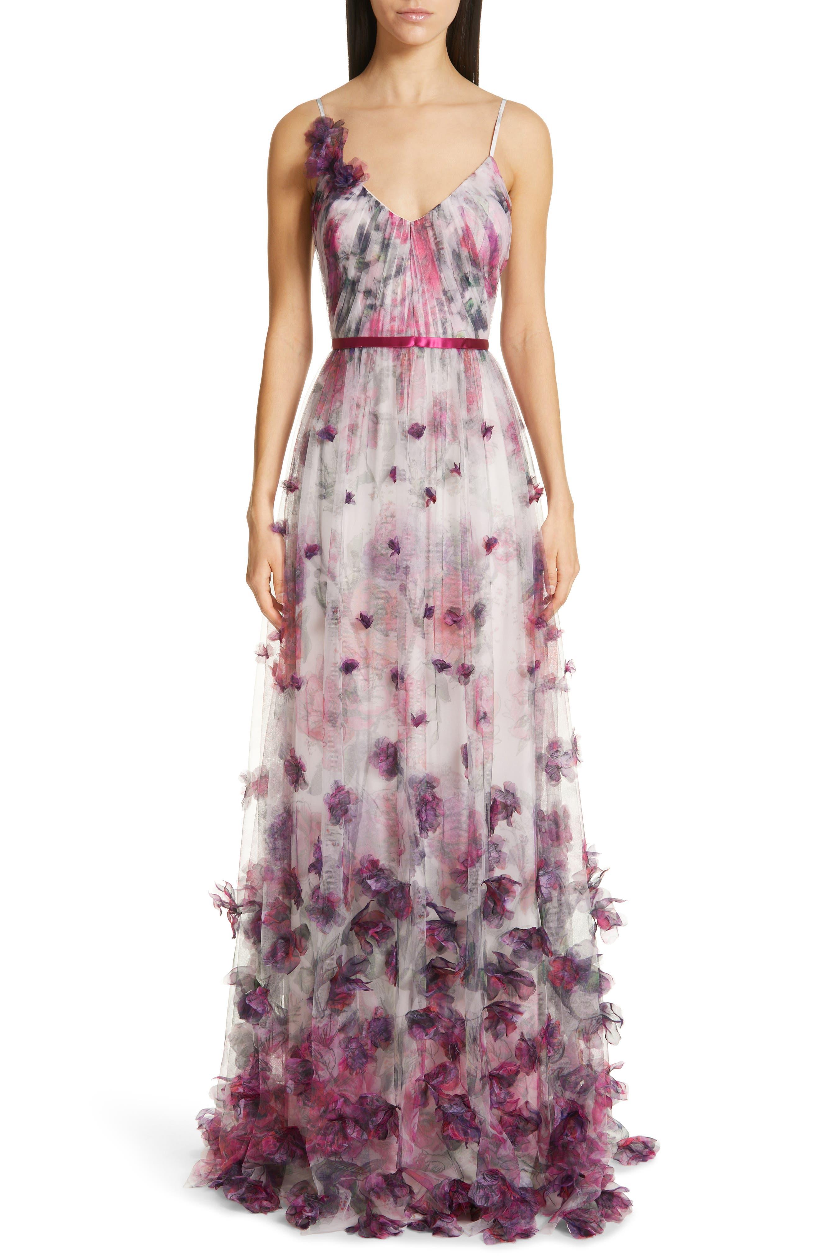 Marchesa Notte 3D Floral Tulle Evening Dress, Ivory