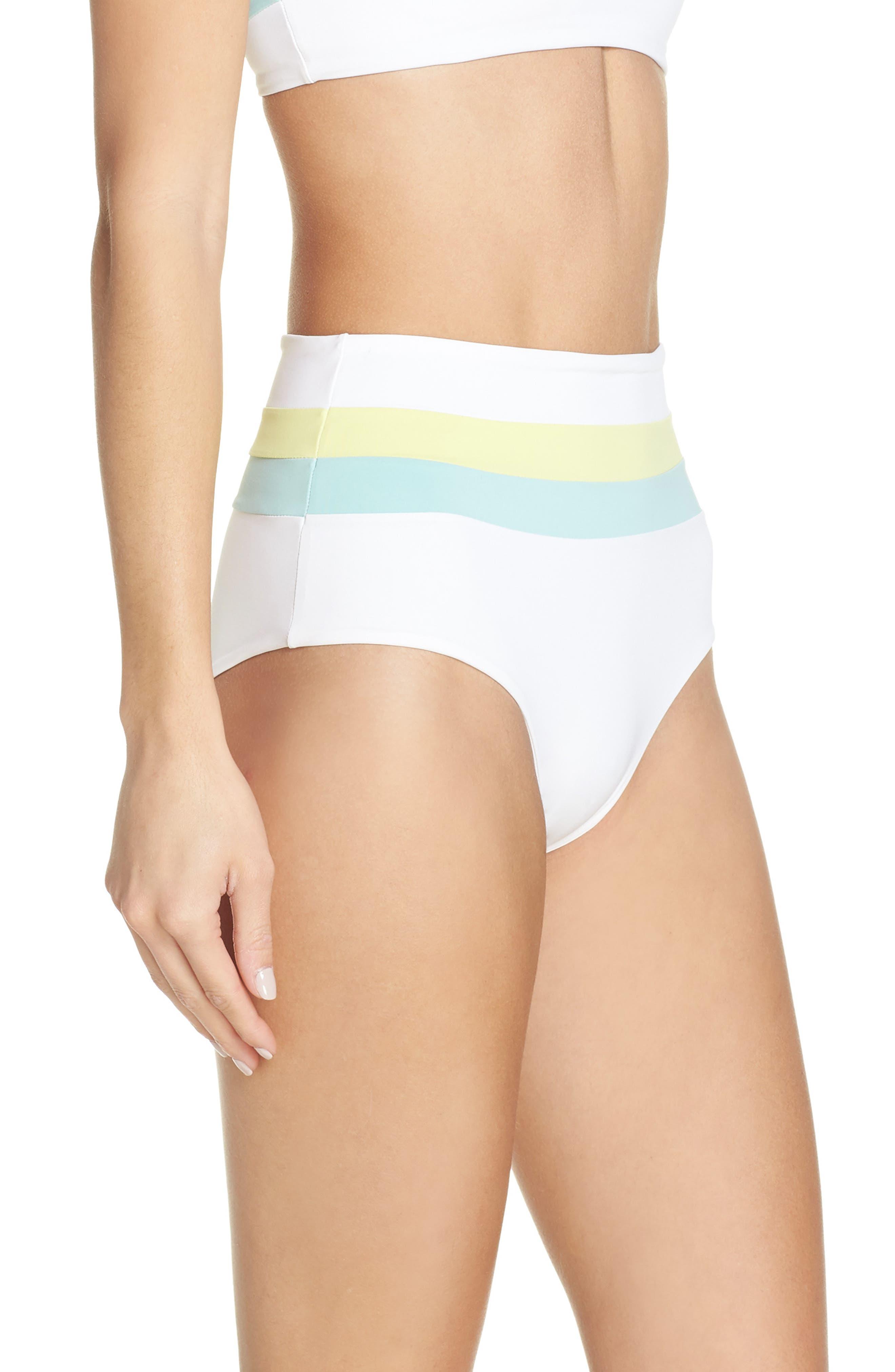 L SPACE, Portia Reversible High Waist Bikini Bottoms, Alternate thumbnail 4, color, WHITE/ LIGHT TURQ/ LEMONADE