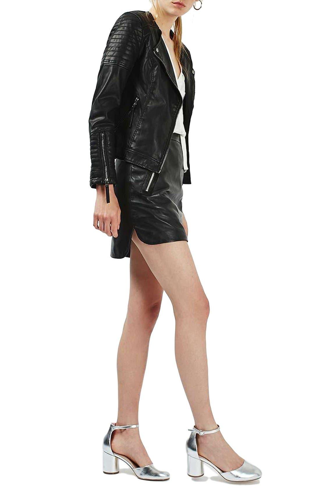 TOPSHOP, Nelly Faux Leather Biker Jacket, Alternate thumbnail 3, color, 001