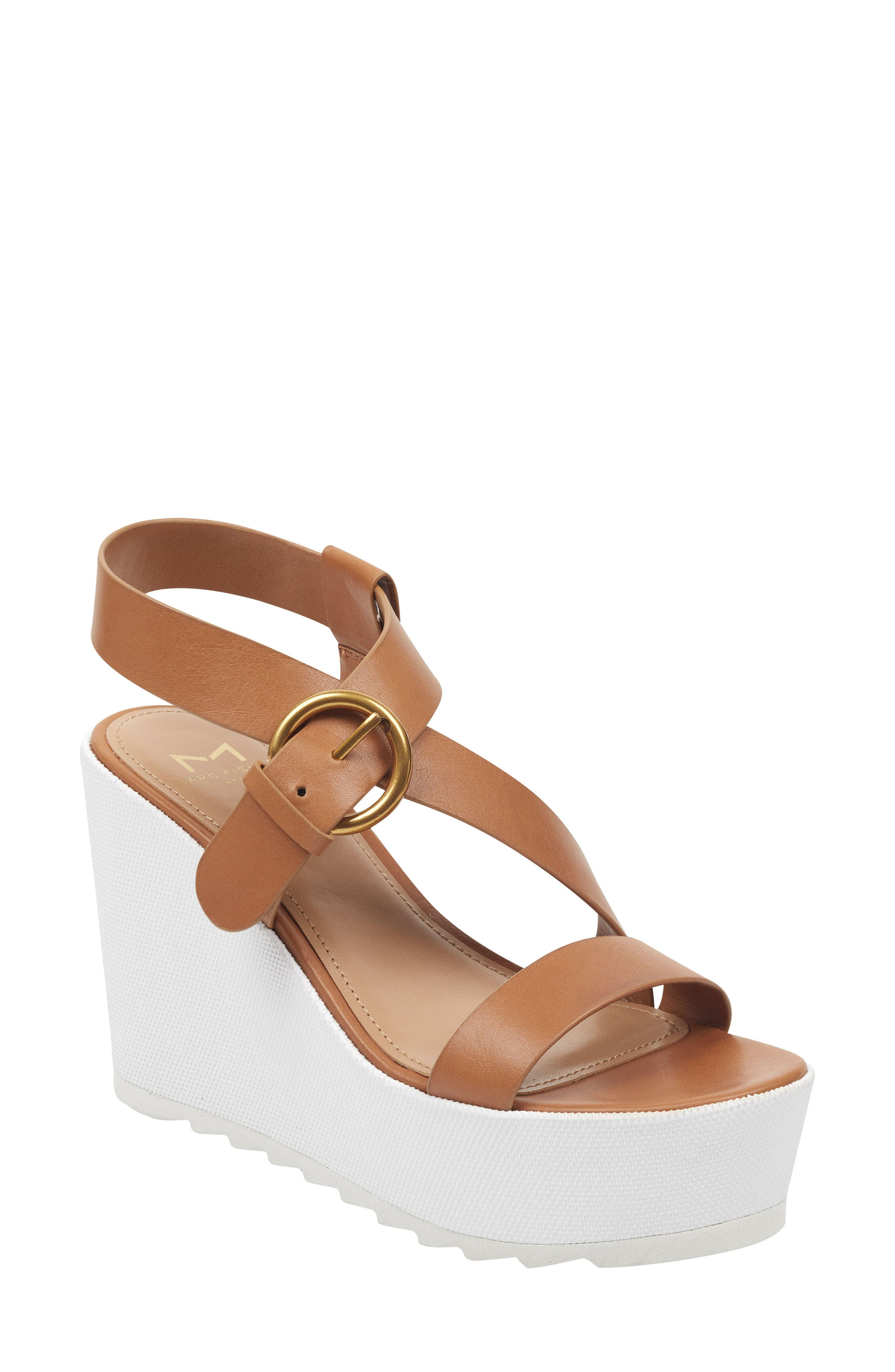 Marc Fisher Ltd Mahina Platform Wedge Sandal- Brown