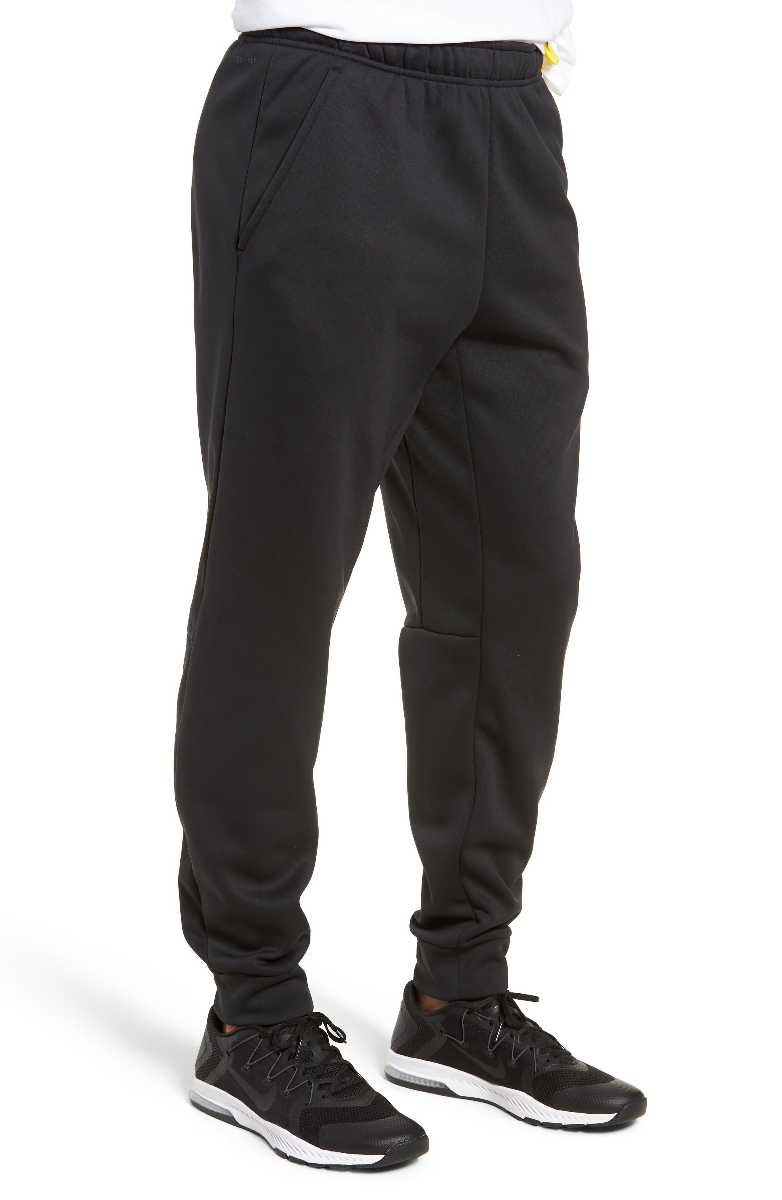 NIKE, Therma Tapered Pants, Alternate thumbnail 4, color, BLACK/ WHITE