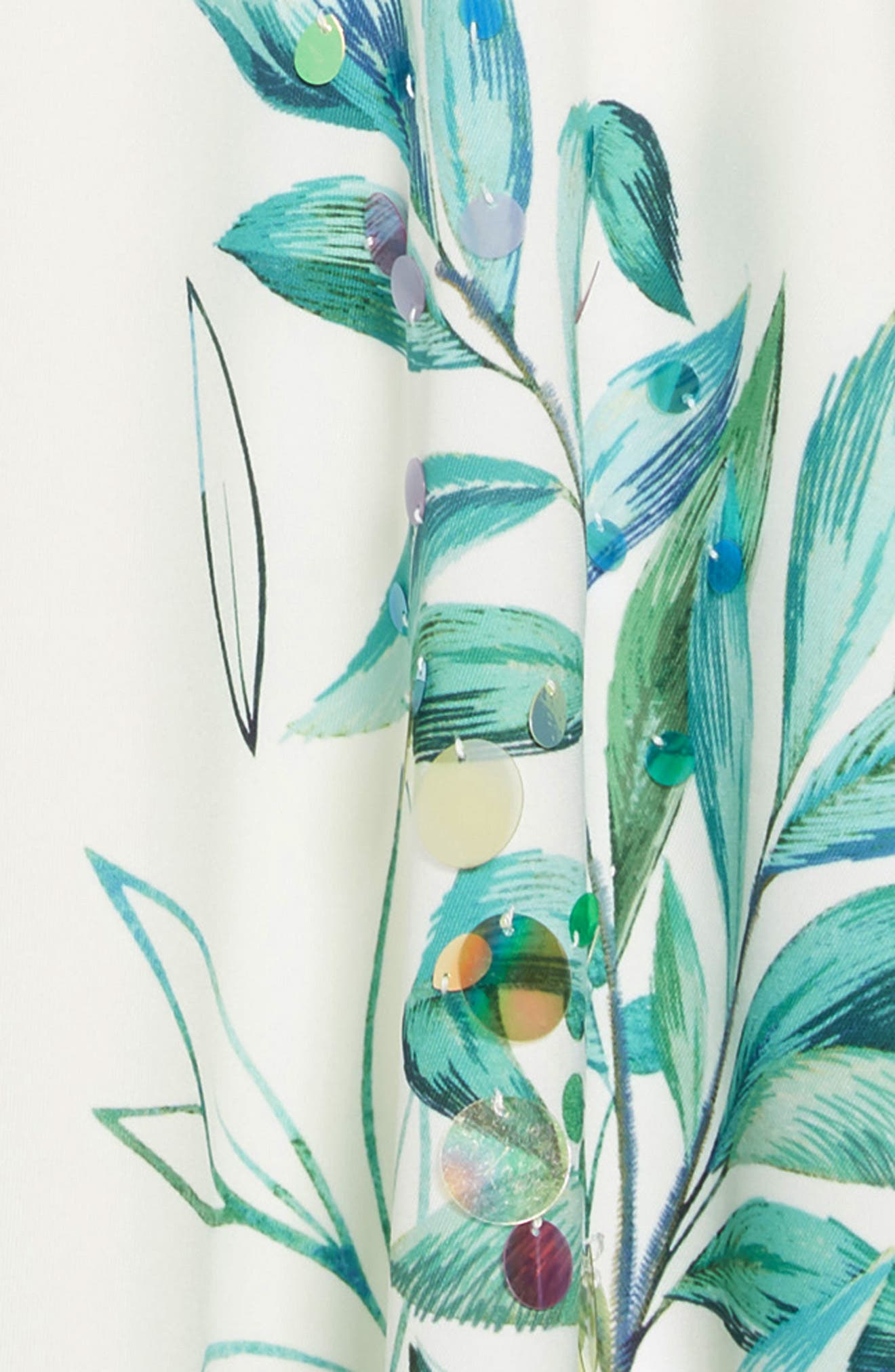 HANNAH BANANA, Leafy Print Embellished Dress, Alternate thumbnail 3, color, 100
