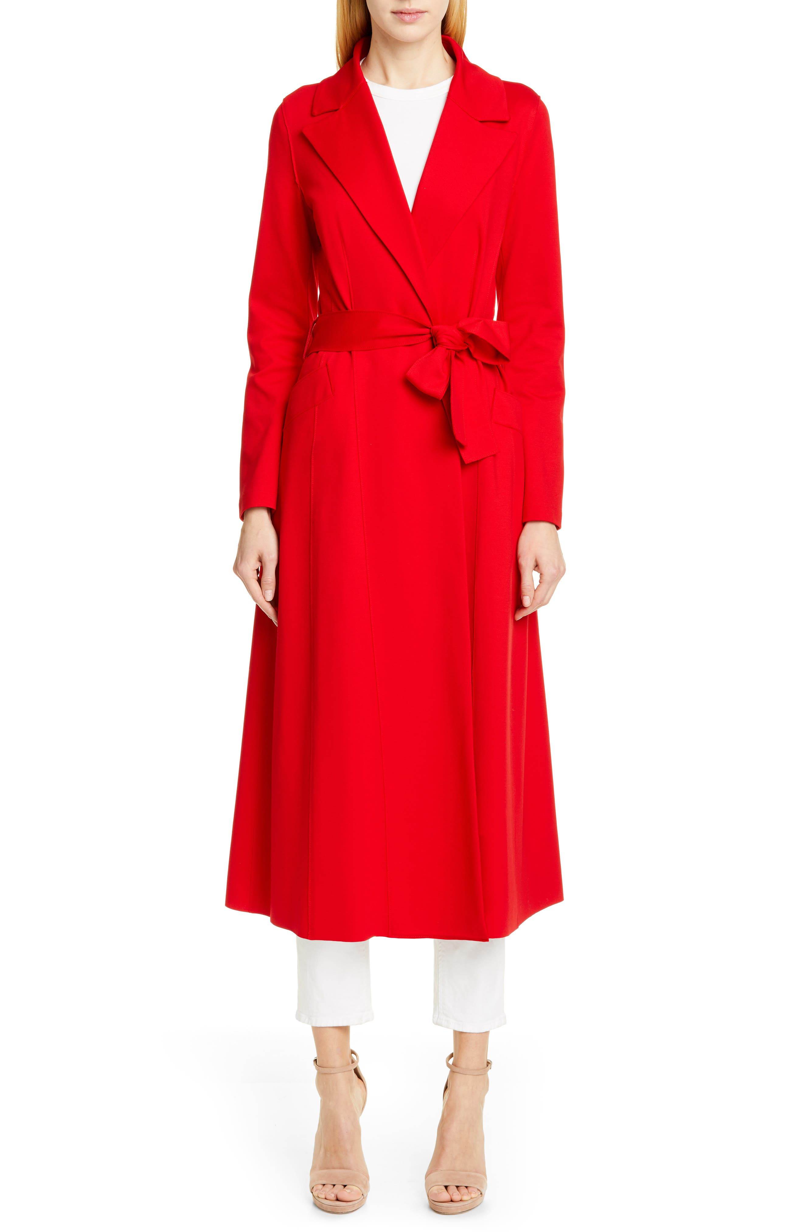 HARRIS WHARF LONDON Long Duster Coat, Main, color, HIBISCUS