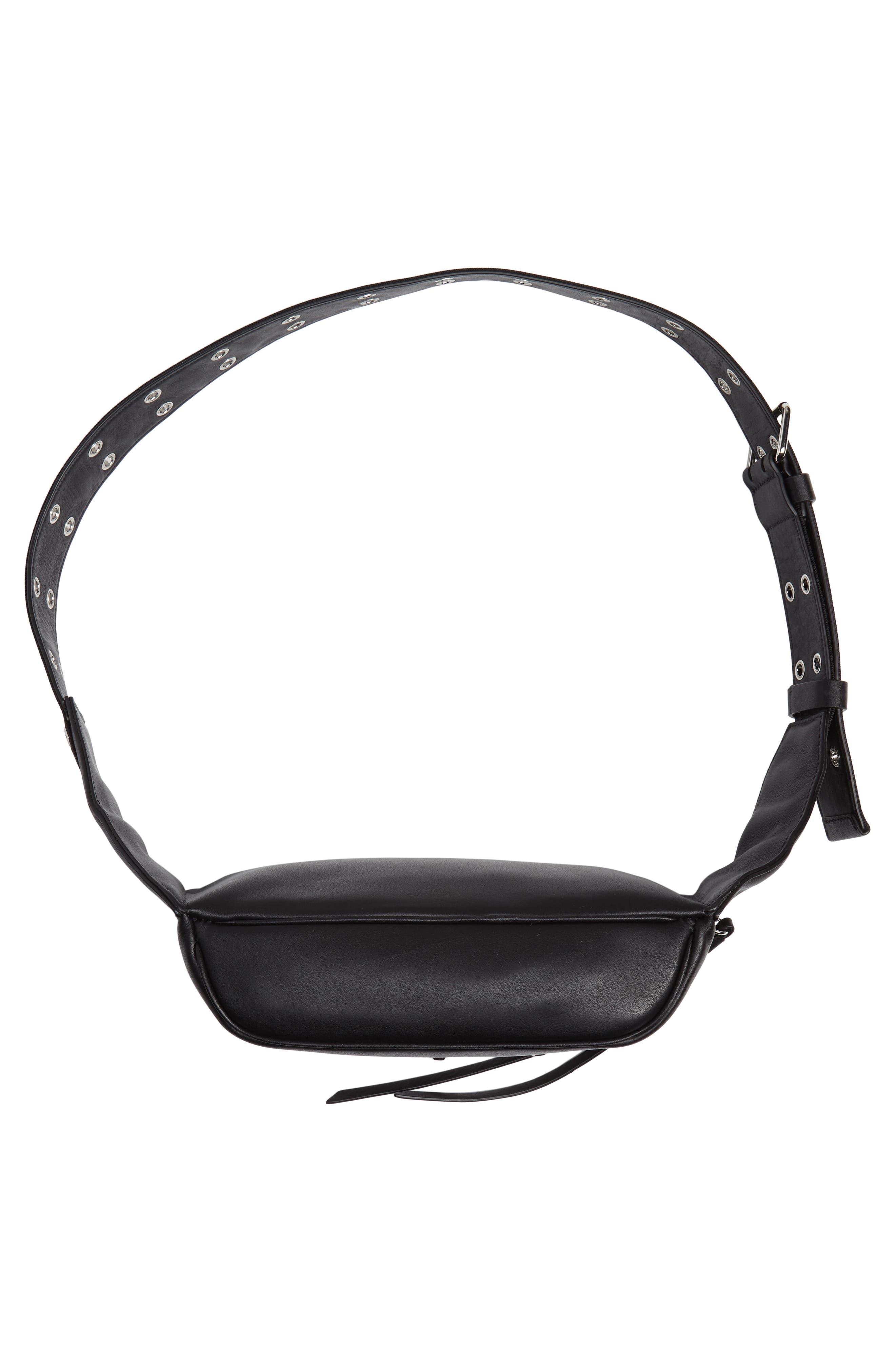 ALLSAINTS, Studded Leather Belt Bag, Alternate thumbnail 8, color, 001