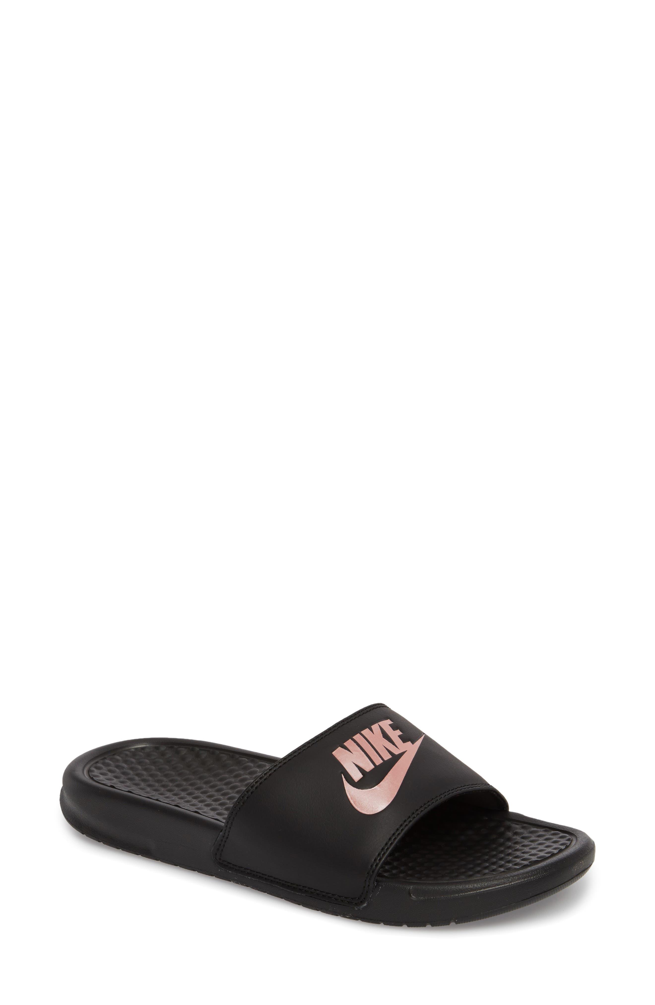 NIKE, Benassi JDI Slide Sandal, Main thumbnail 1, color, BLACK/ ROSE GOLD