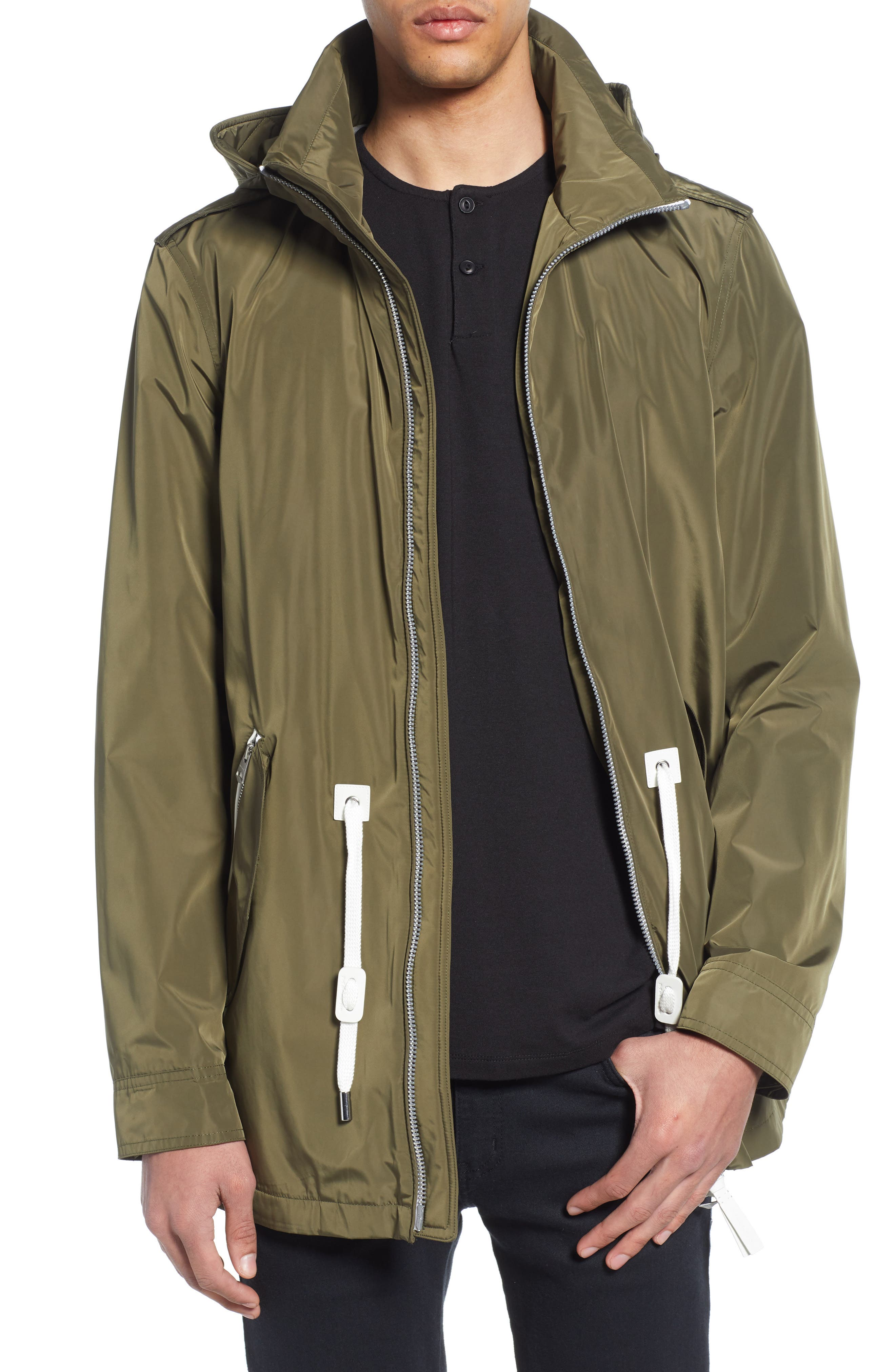 MACKAGE Mack Water Repellent Lined Raincoat, Main, color, ARMY