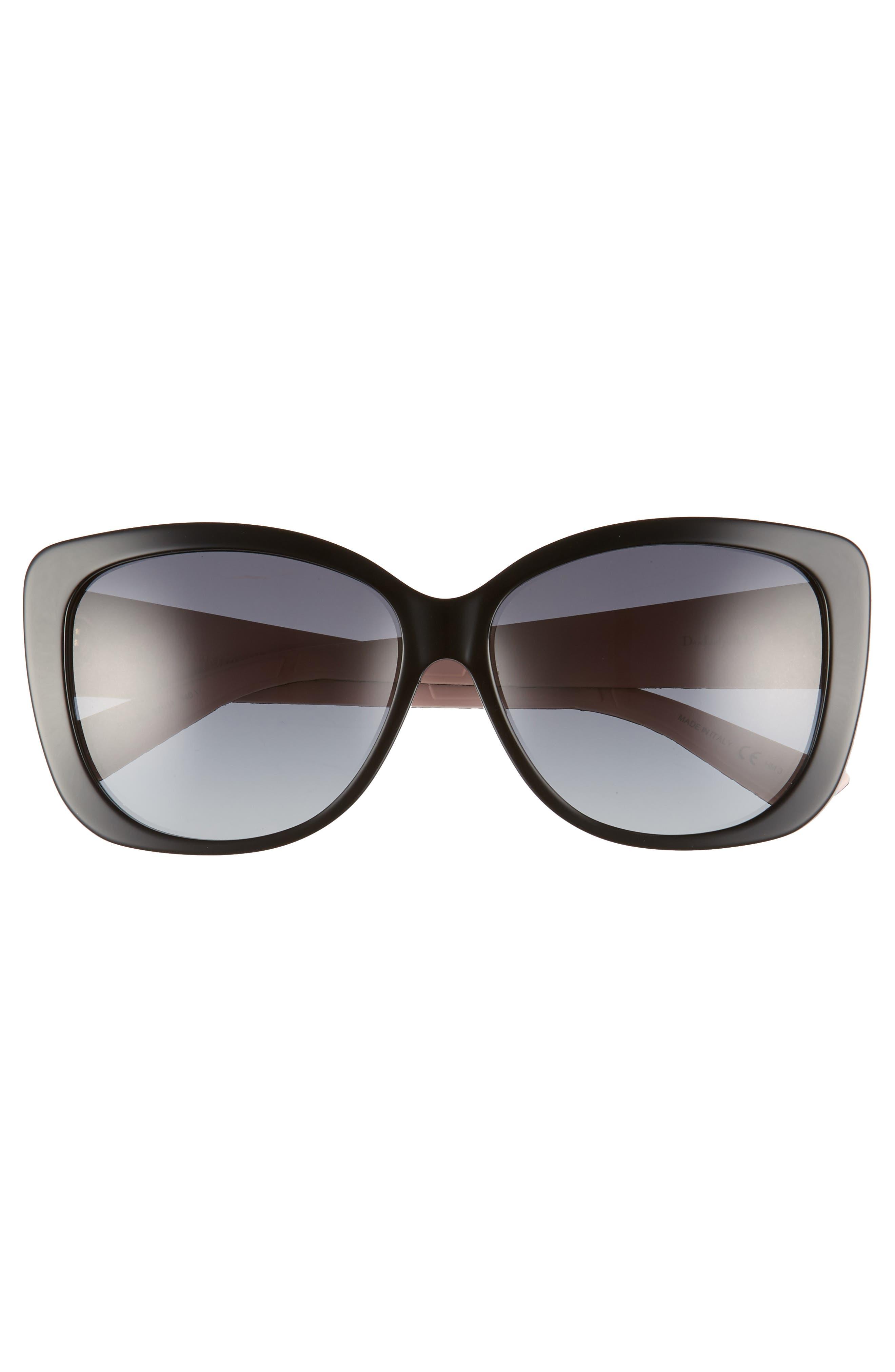 DIOR, Lady 59mm Cat Eye Sunglasses, Alternate thumbnail 3, color, 001