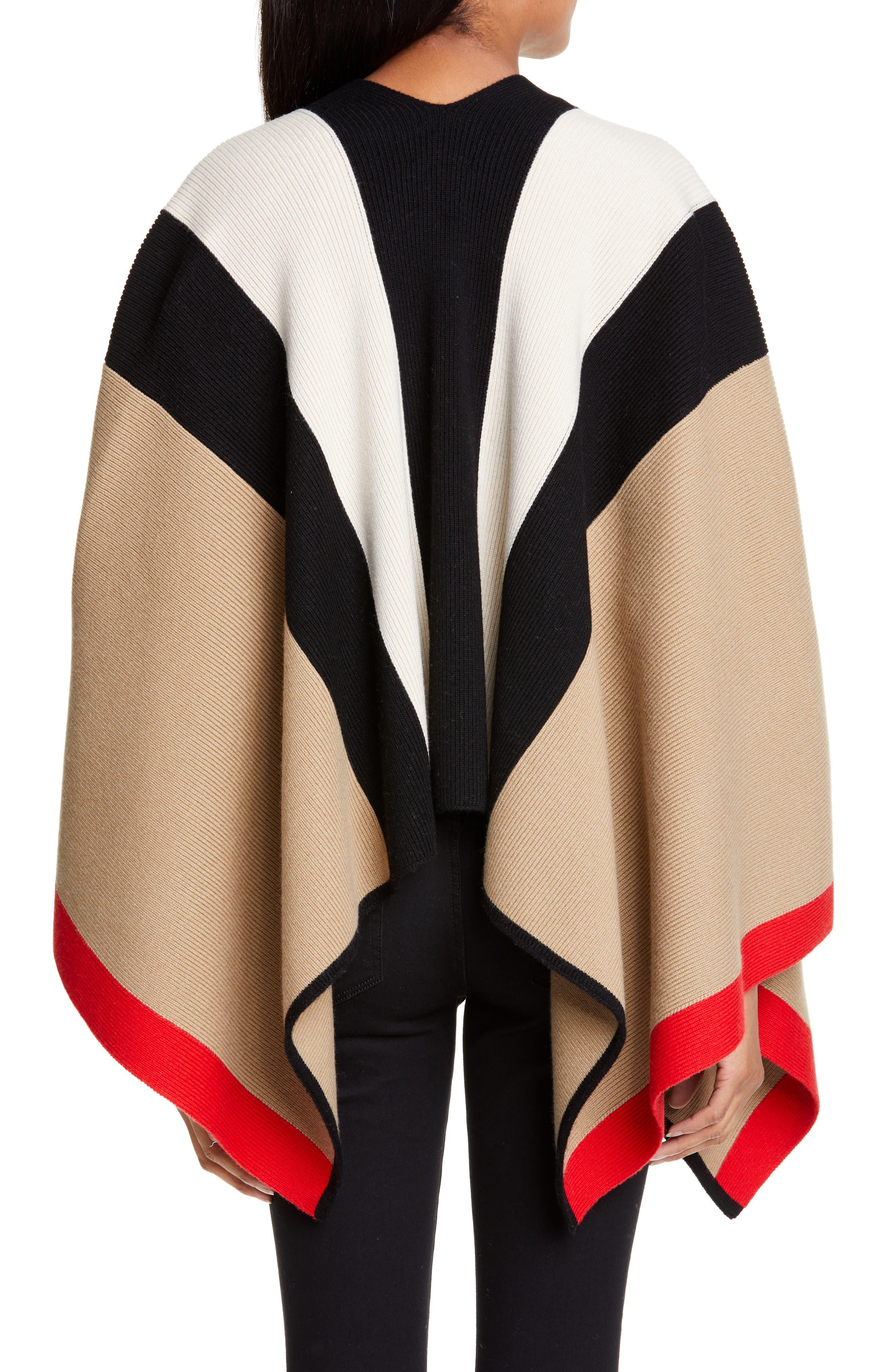 BURBERRY, Stripe Wool & Cashmere Cape, Alternate thumbnail 2, color, CAMEL