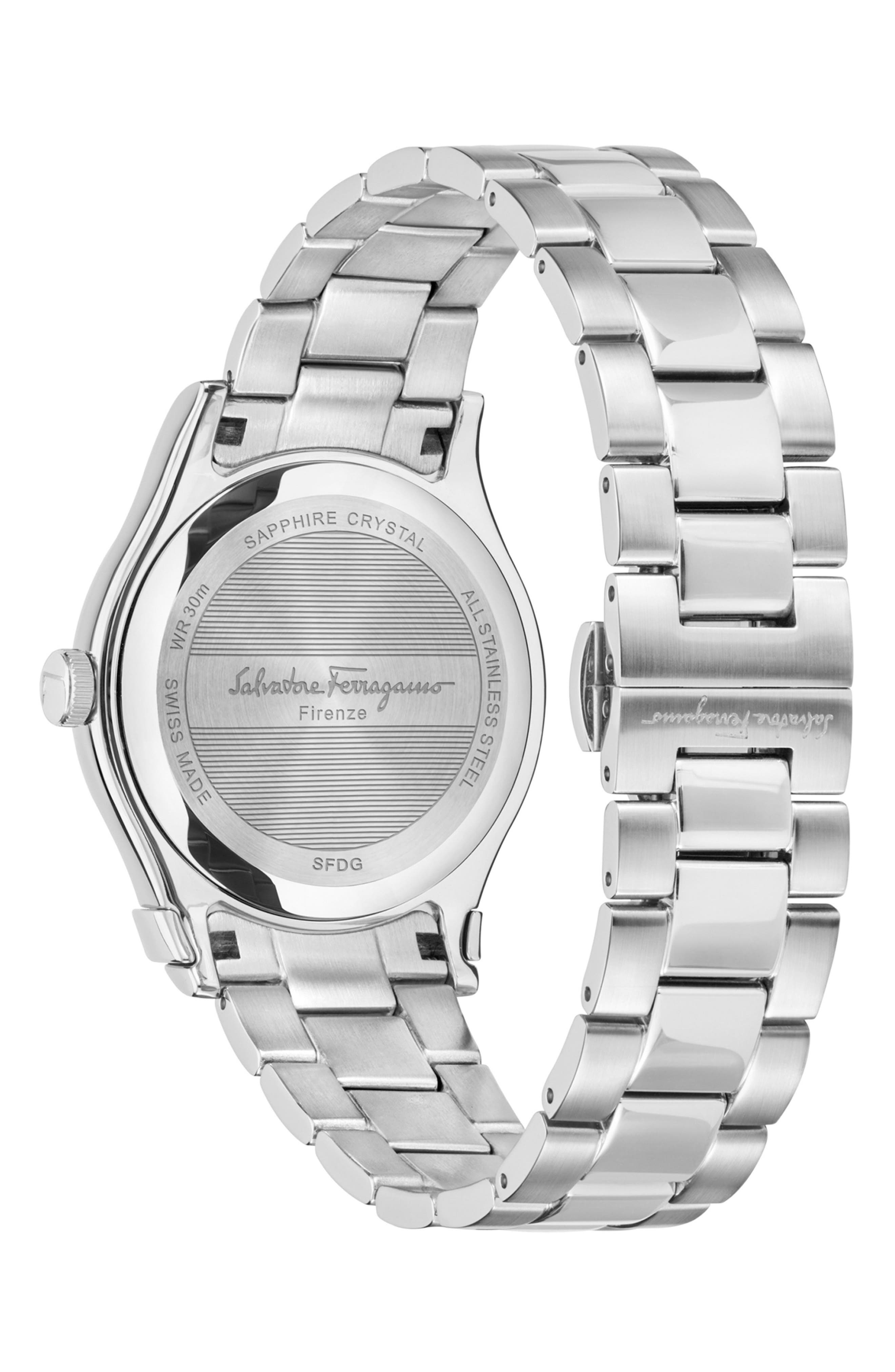 SALVATORE FERRAGAMO, 1898 Diamond Bracelet Watch, 40mm, Alternate thumbnail 2, color, SILVER/ PINK MOP/ SILVER