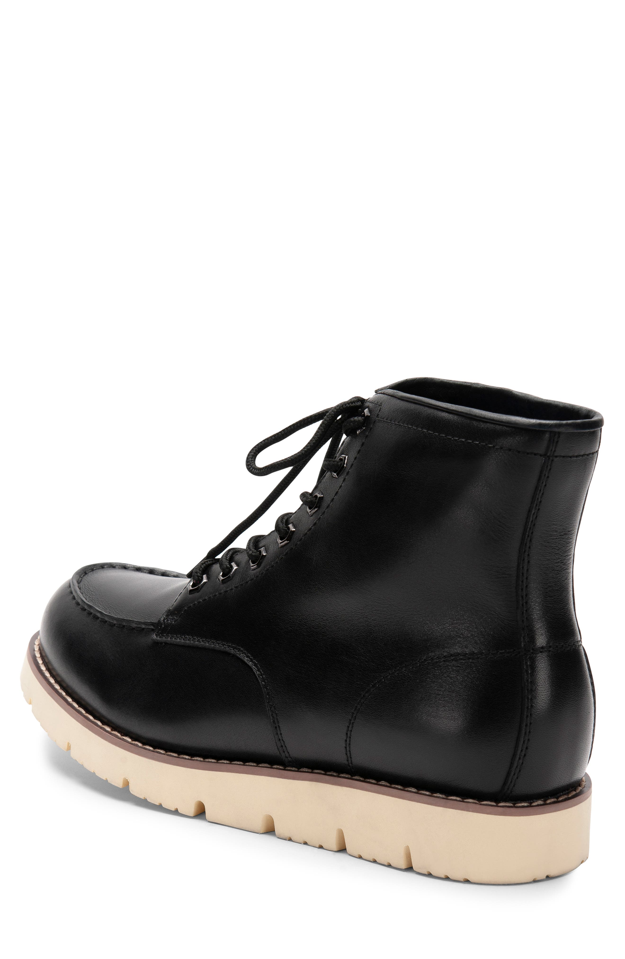 BLONDO, Mario Waterproof Moc Toe Boot, Alternate thumbnail 2, color, BLACK LEATHER