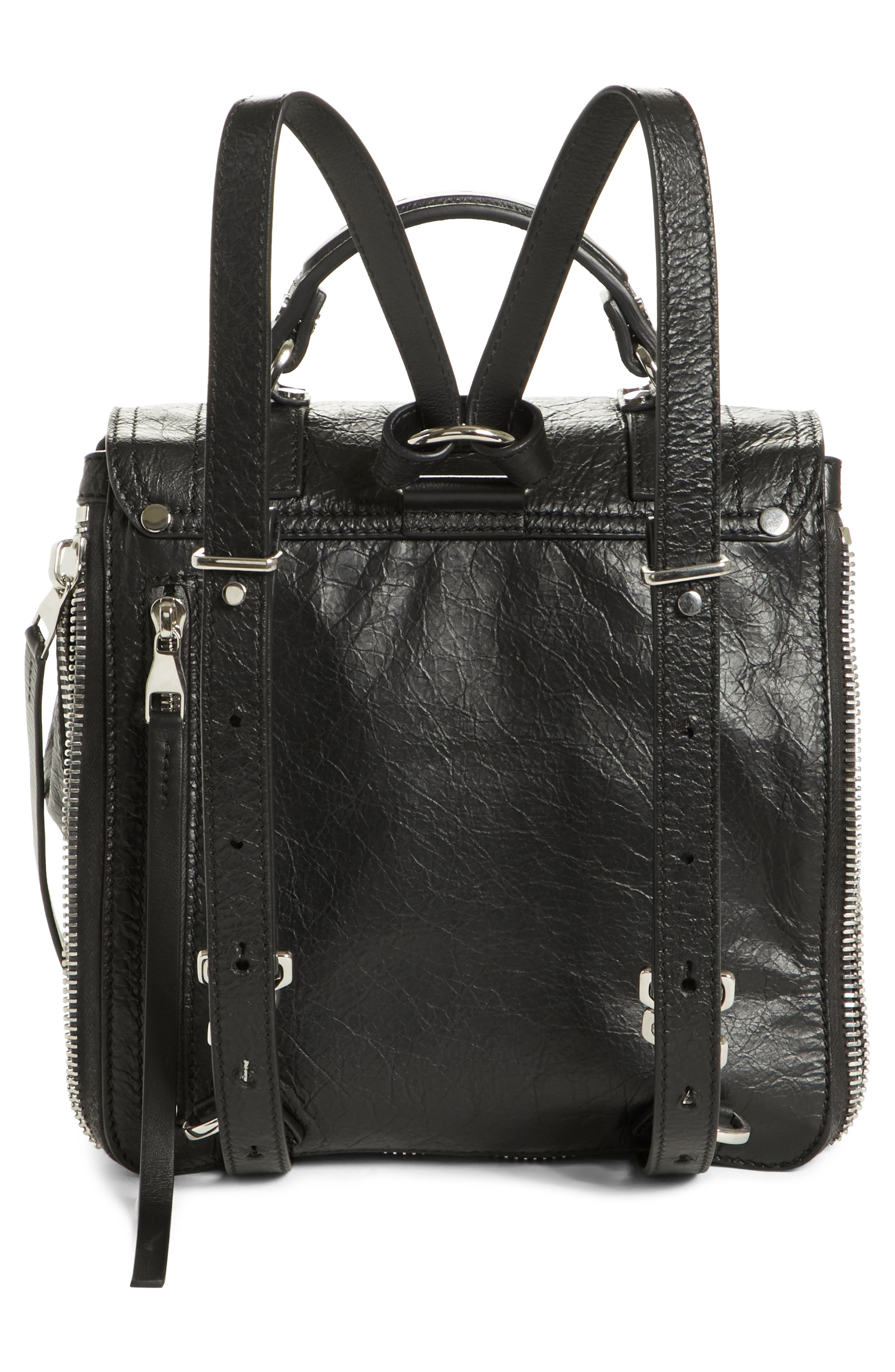 PROENZA SCHOULER, PS1 Leather Convertible Backpack, Alternate thumbnail 3, color, BLACK