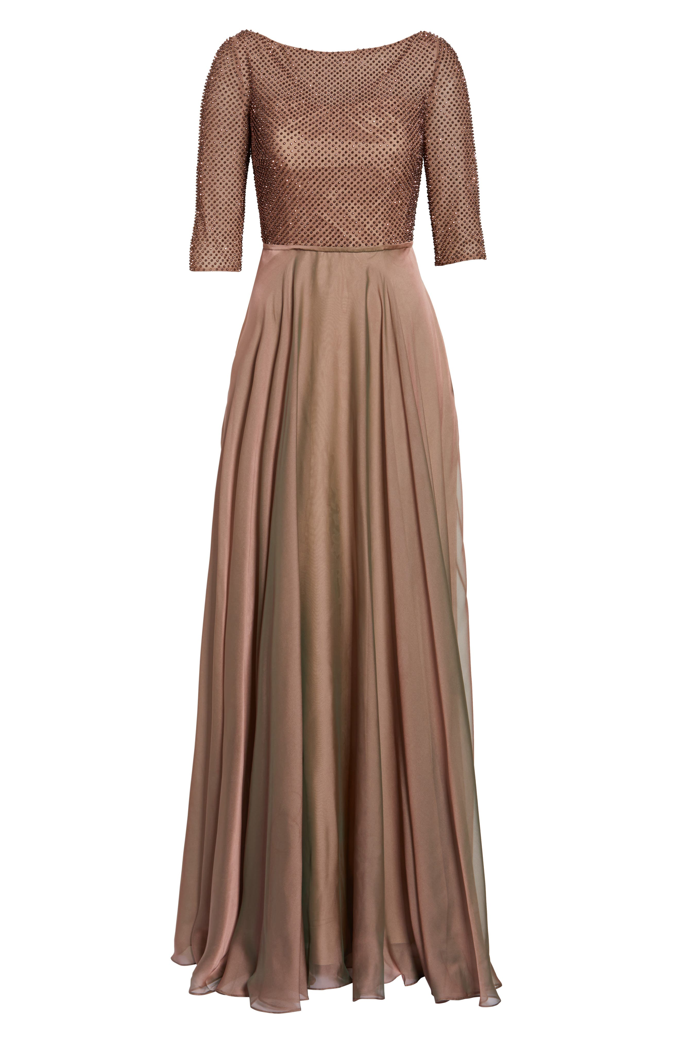 LA FEMME, Embellished Bodice Gown, Alternate thumbnail 6, color, COCOA
