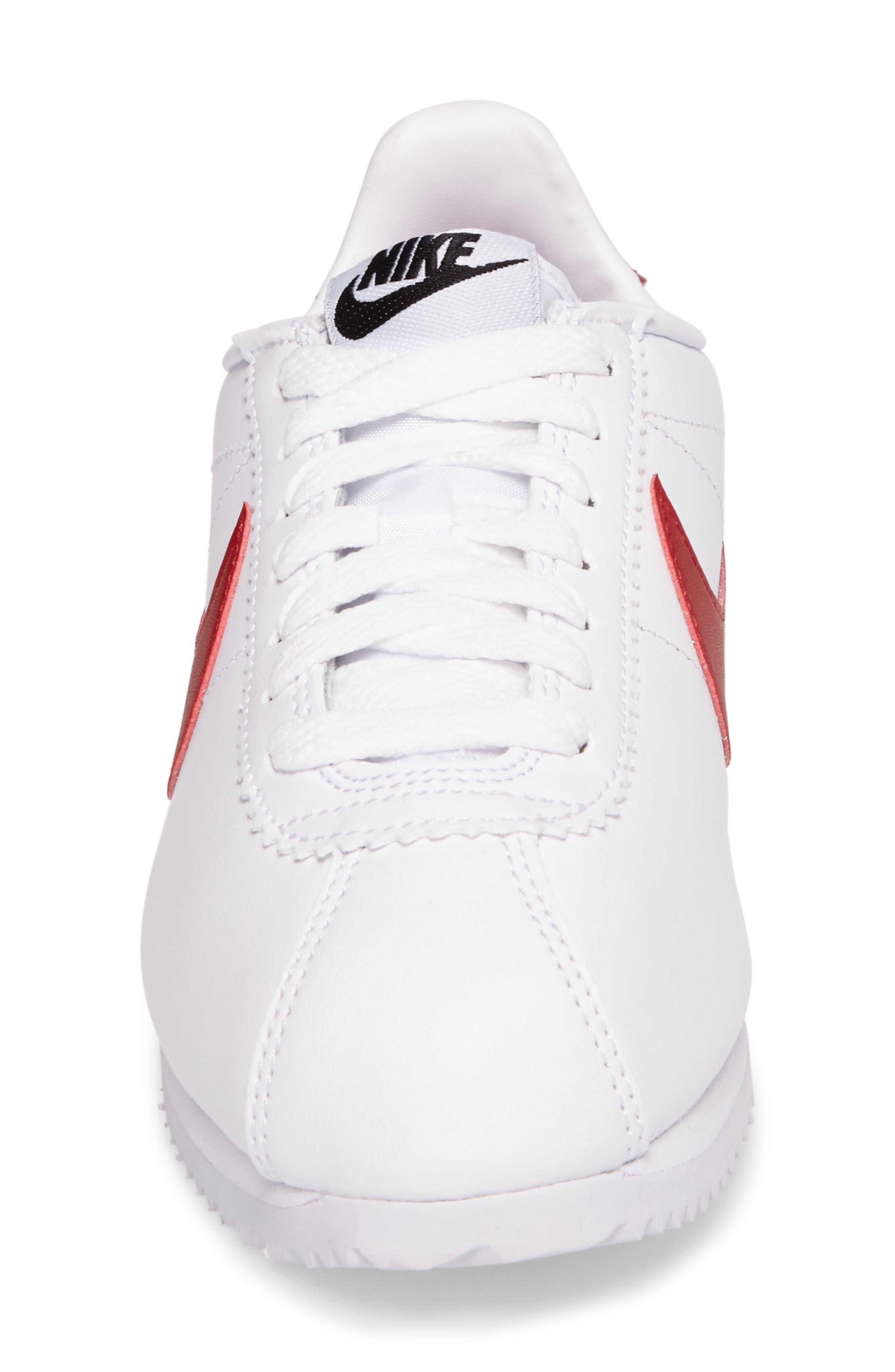 NIKE, Classic Cortez Sneaker, Alternate thumbnail 4, color, WHITE/ VARSITY RED