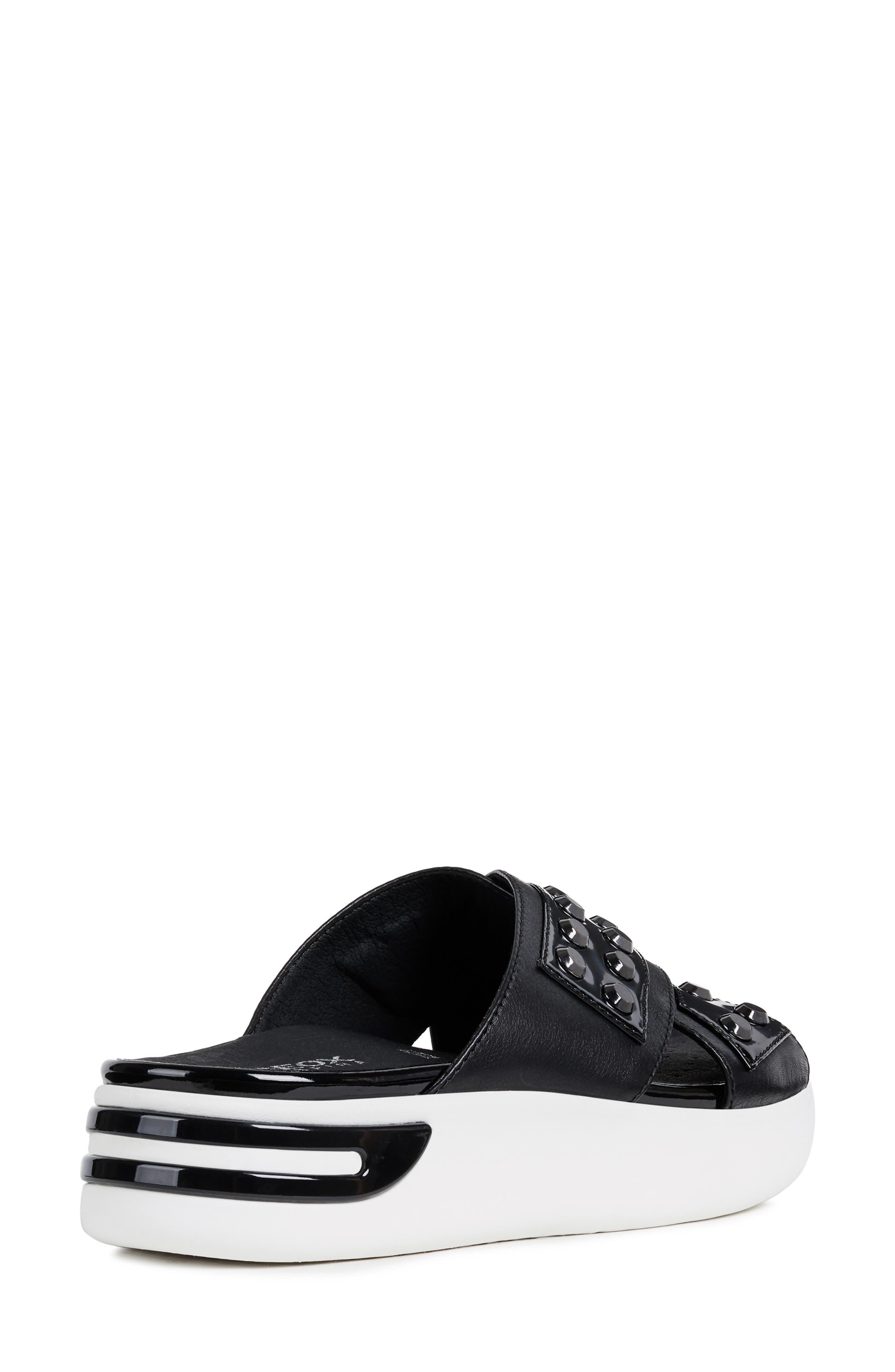 GEOX, Ottaya Studded Slide Sandal, Alternate thumbnail 7, color, BLACK LEATHER