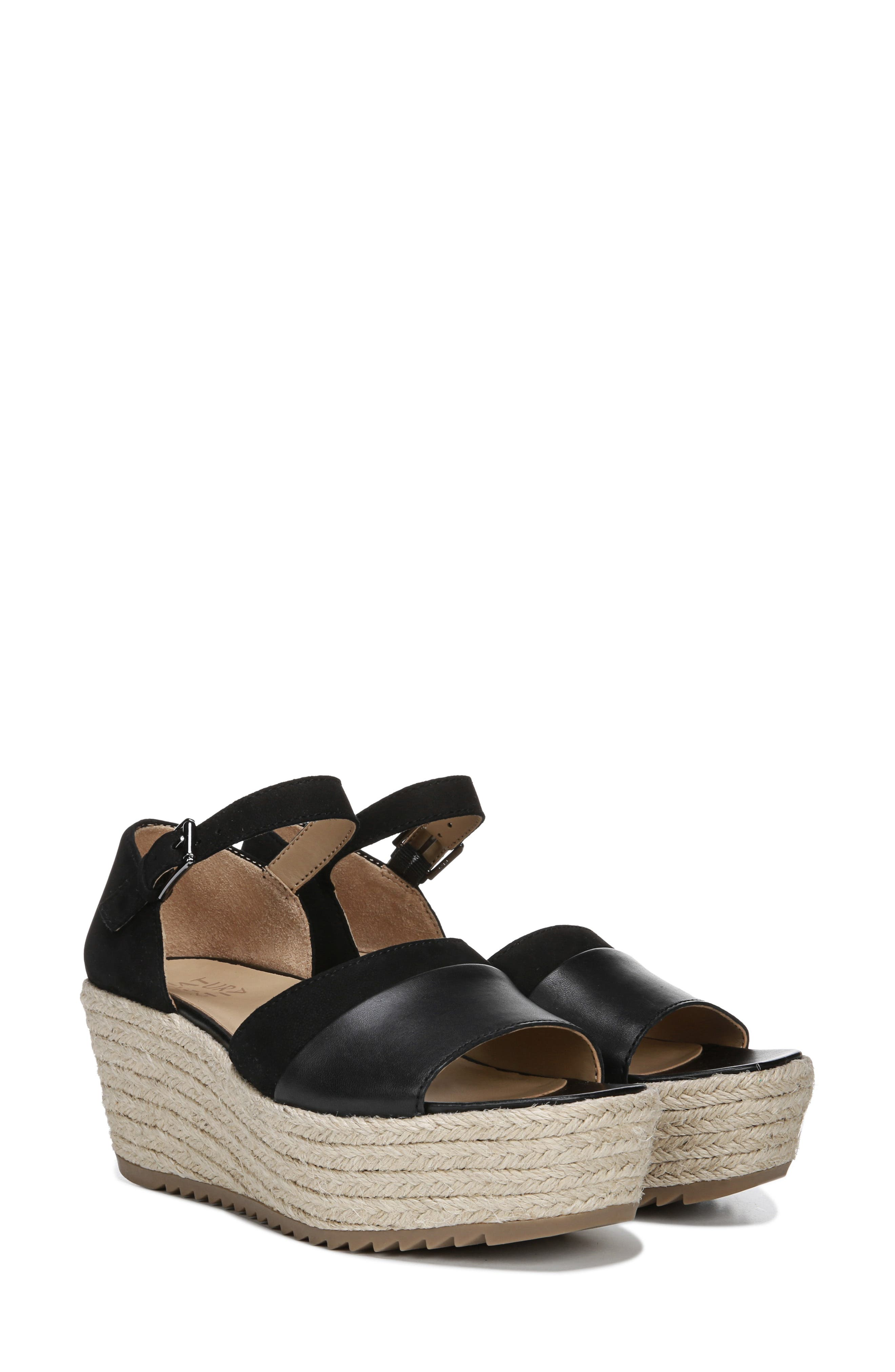 NATURALIZER, Opal Espadrille Platform Wedge Sandal, Alternate thumbnail 9, color, BLACK LEATHER
