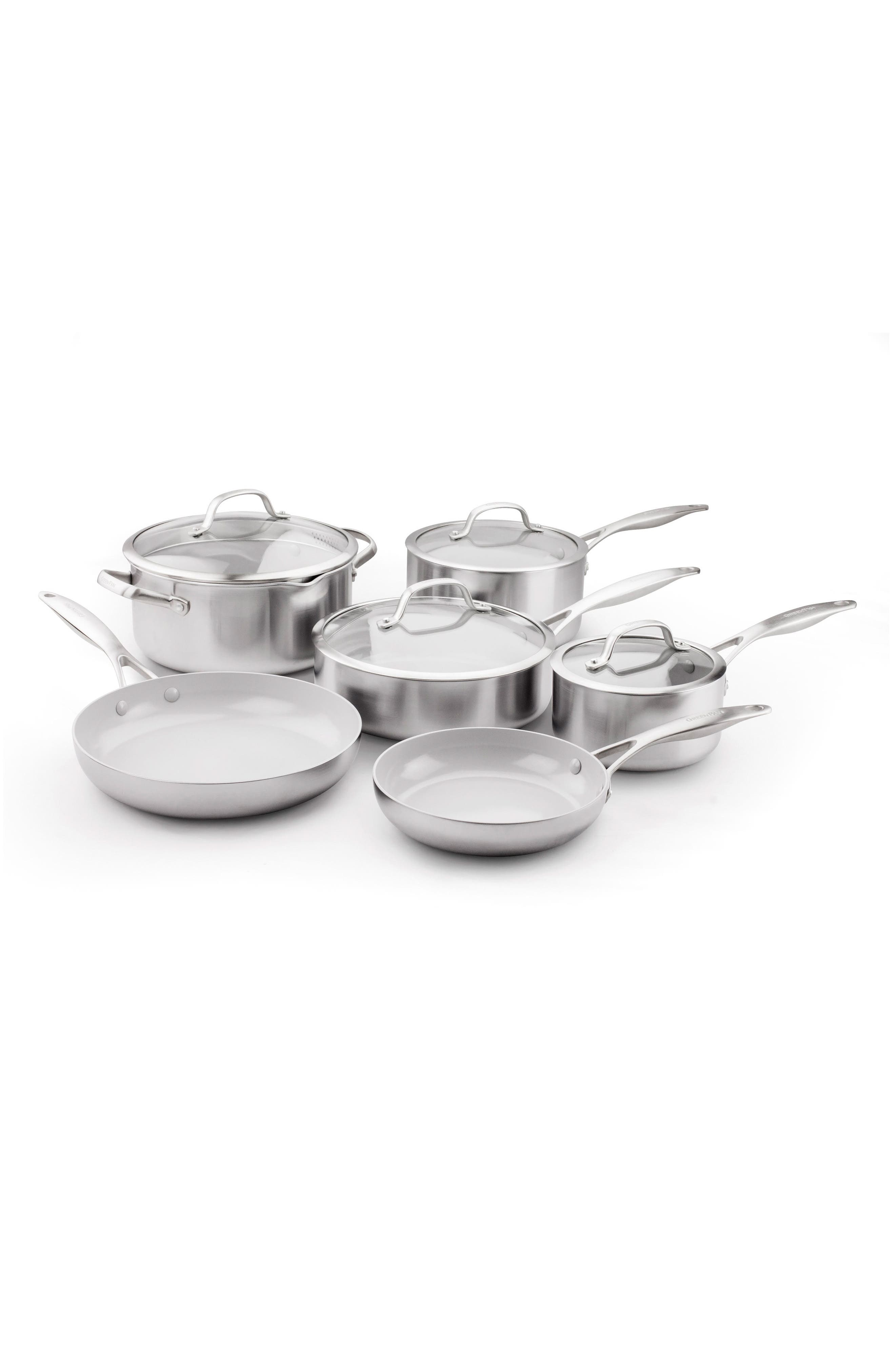 GREENPAN Venice Pro 10-Piece Multilayer Stainless Steel Ceramic Nonstick Cookware Set, Main, color, STAINLESS STEEL
