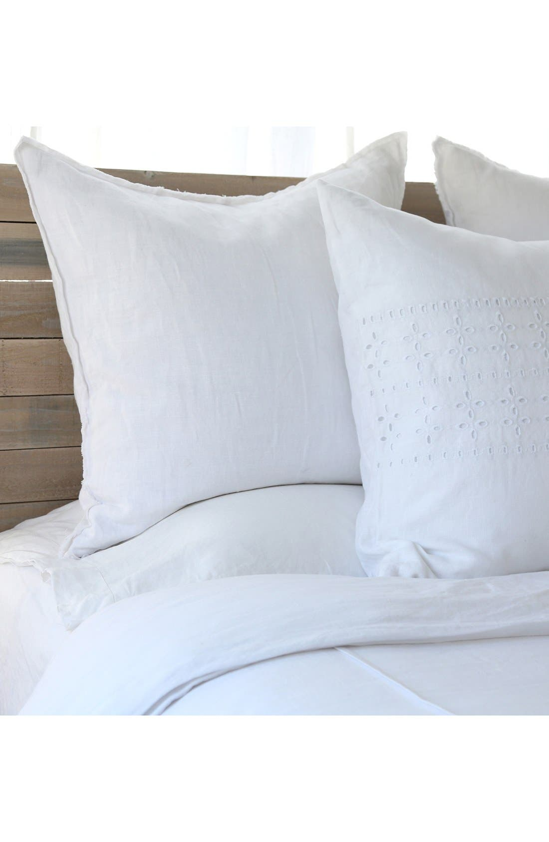 POM POM AT HOME, 'Blair' Linen Euro Pillow Sham, Alternate thumbnail 2, color, WHITE