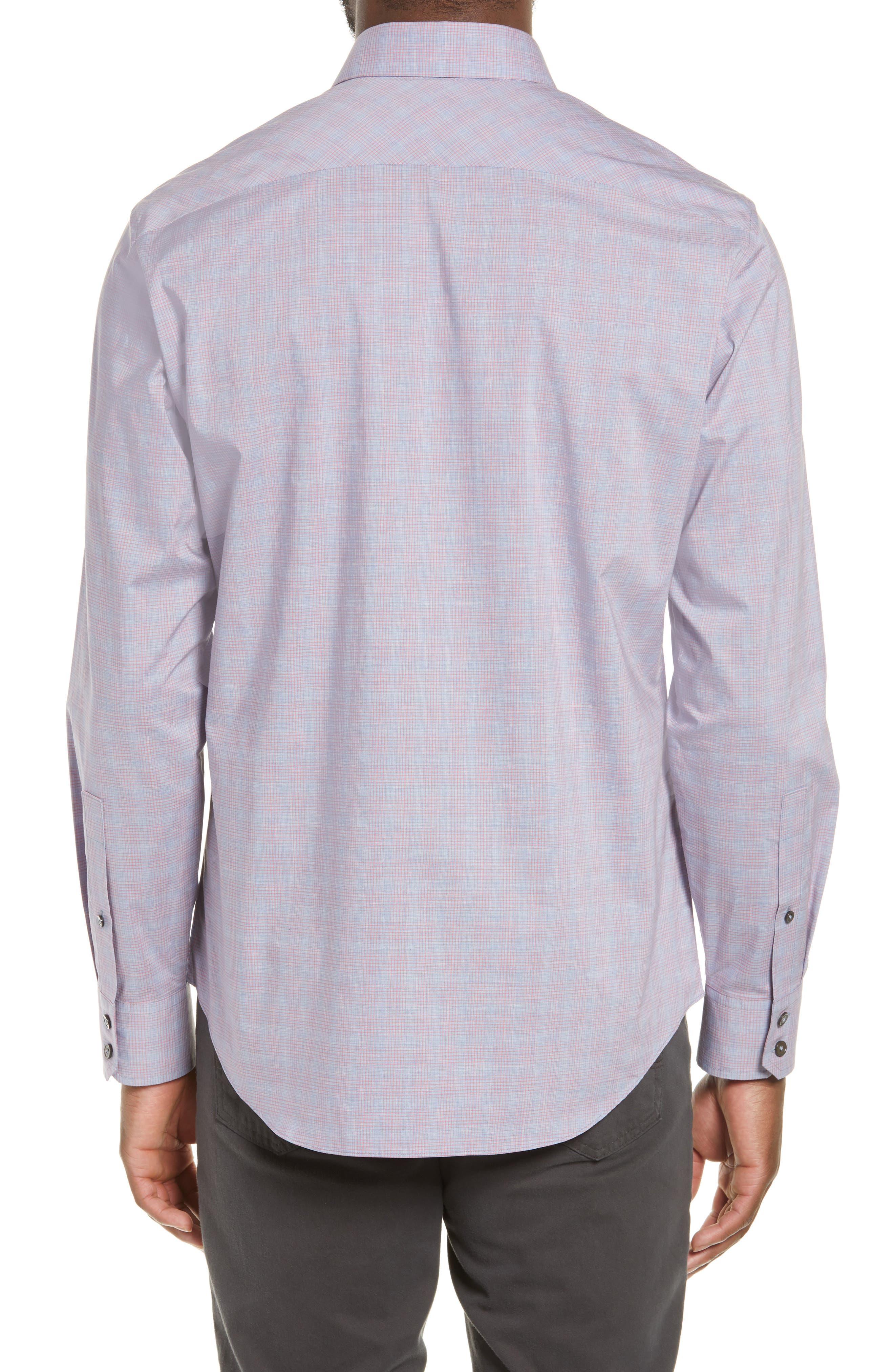 ZACHARY PRELL, Buckland Regular Fit Sport Shirt, Alternate thumbnail 3, color, FLAMINGO