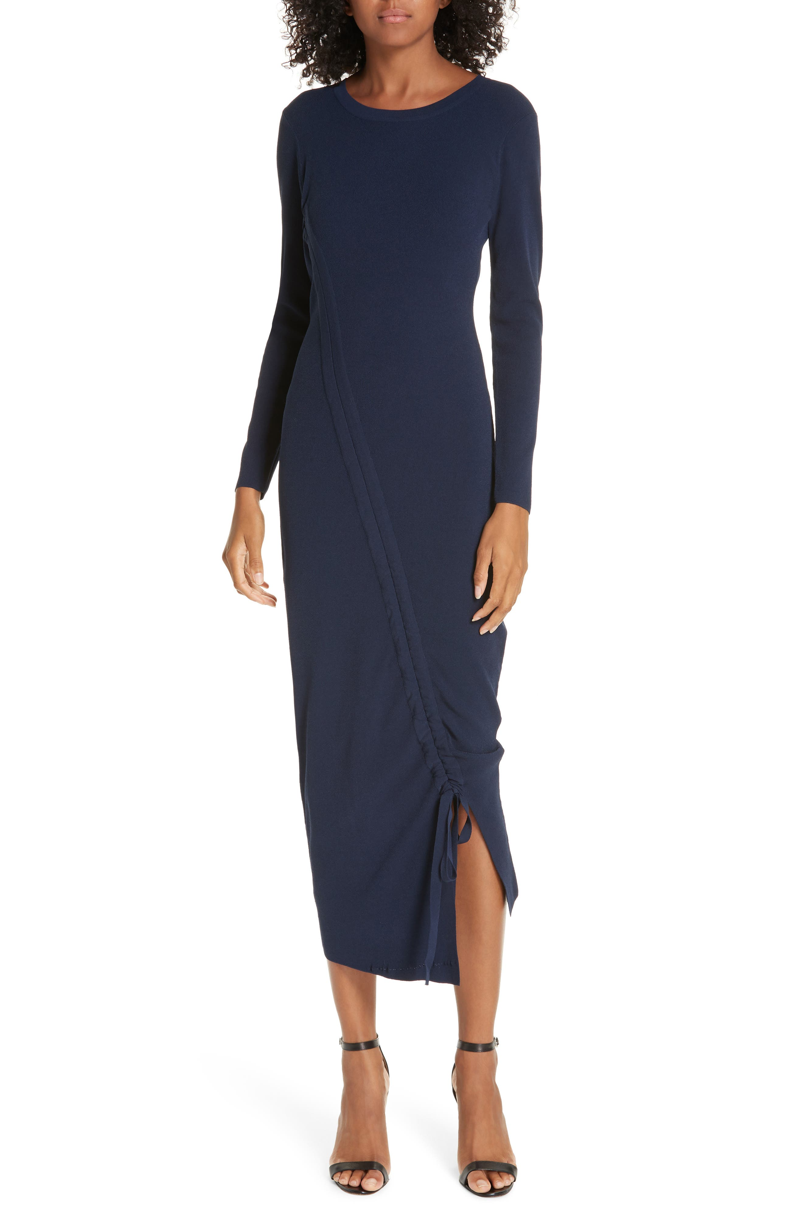 Milly Diagonal Ruched Tunnel Dress, Blue