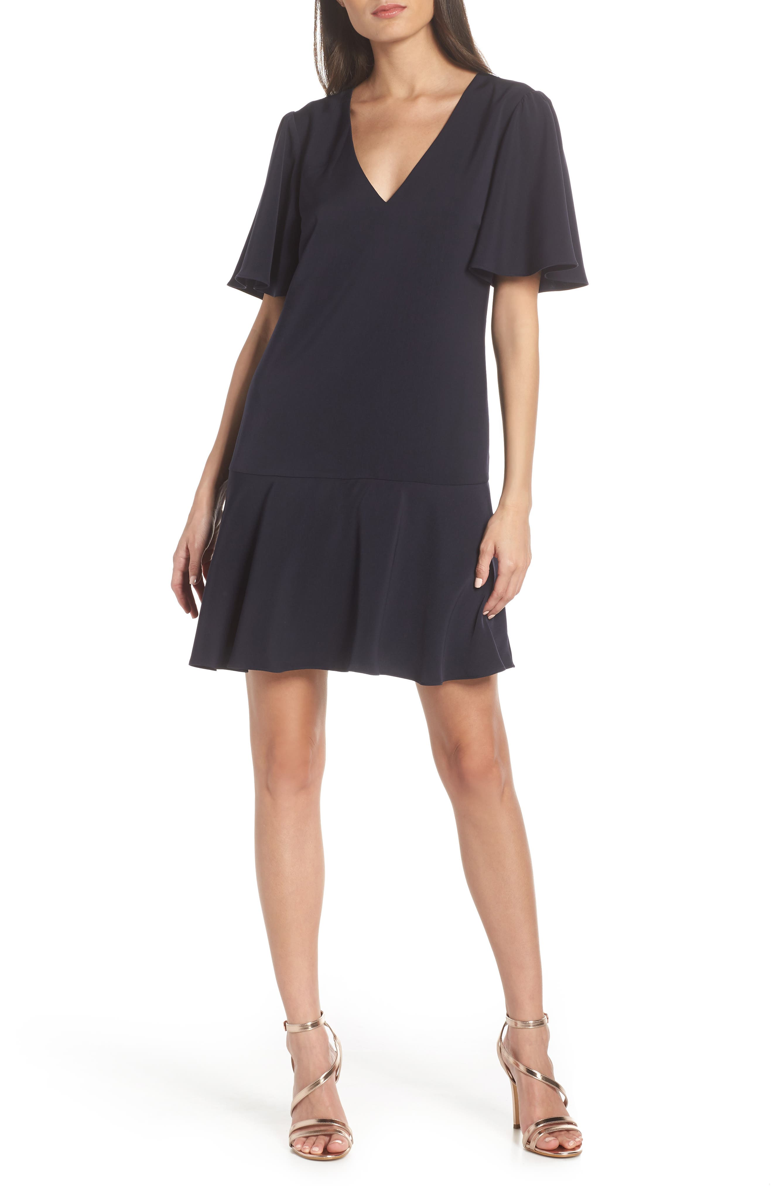 CHARLES HENRY Flutter Sleeve Shift Dress, Main, color, NAVY