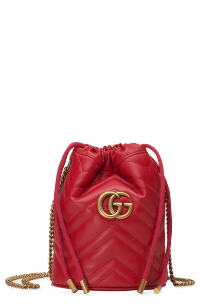 3e68b6b56a0b Gucci Mini Gg Marmont 2.0 Quilted Leather Bucket Bag - Red In Hibiscus Red