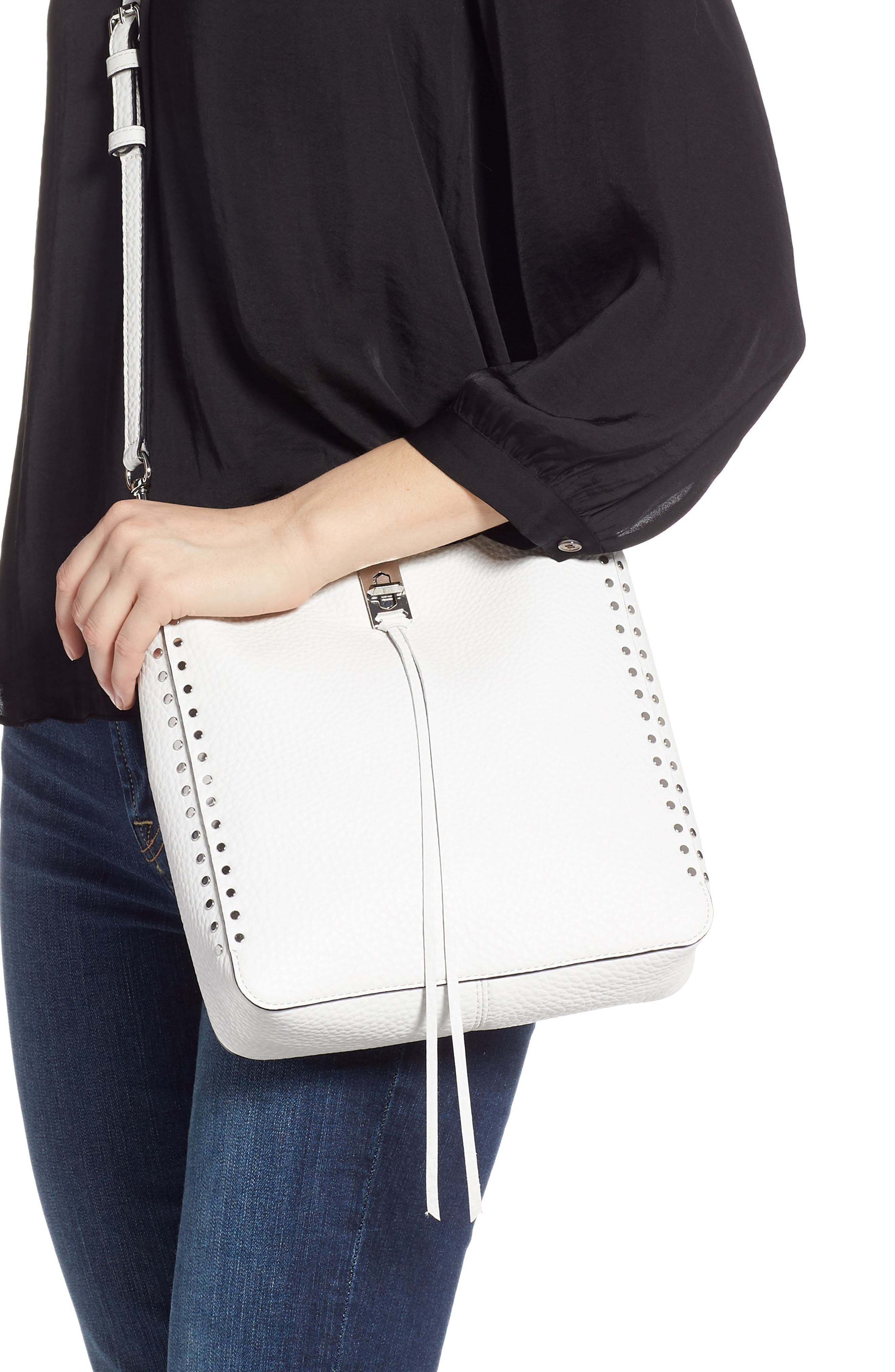 REBECCA MINKOFF, Small Studded Leather Feed Bag, Alternate thumbnail 4, color, OPTIC WHITE