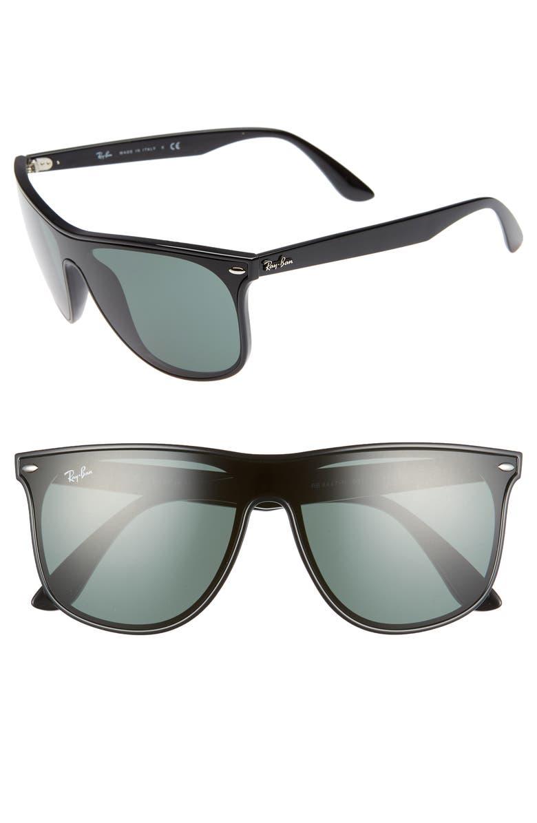 Ray Ban Sunglasses 146MM SHIELD SUNGLASSES - BLACK SOLID