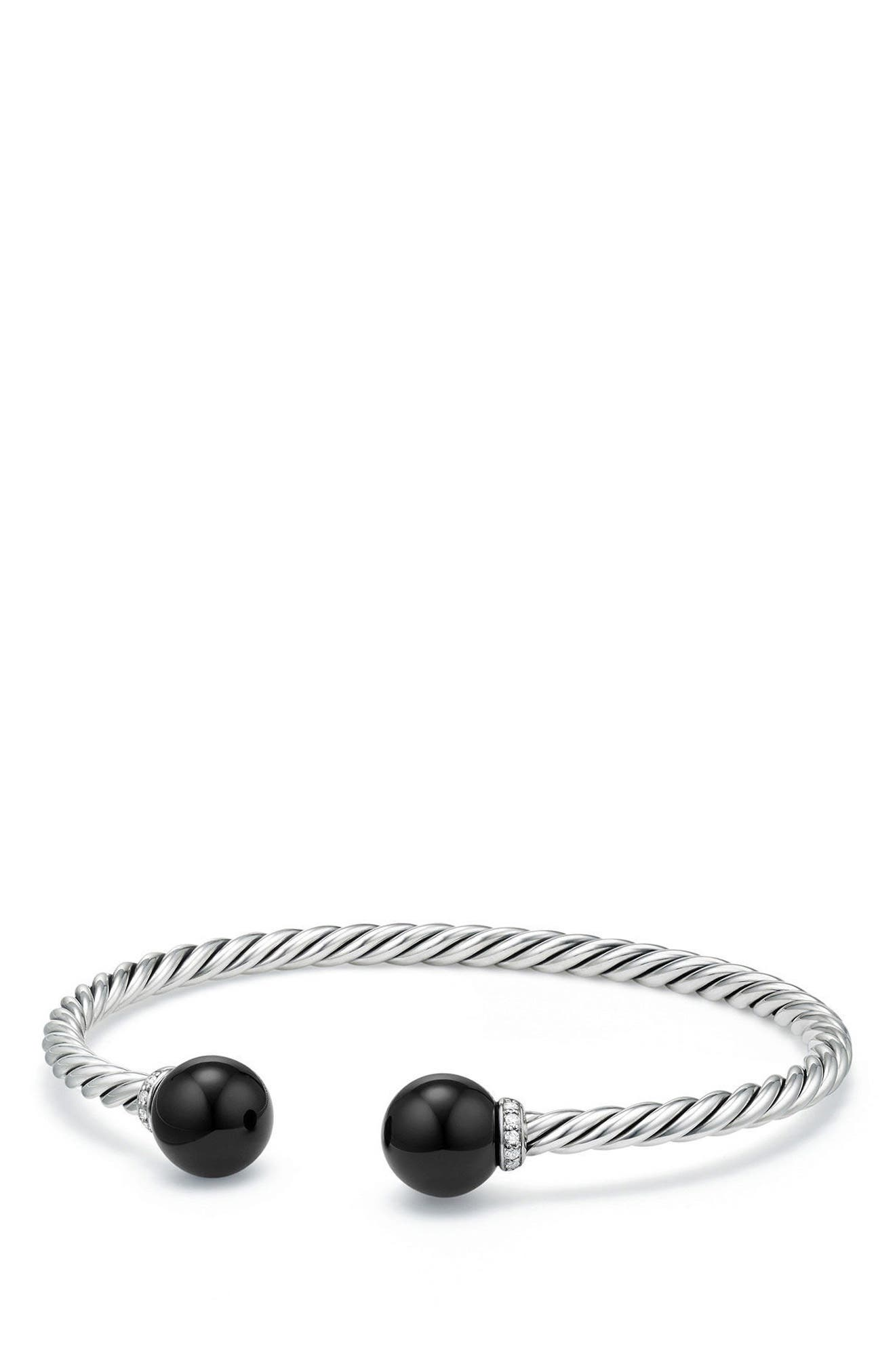 DAVID YURMAN, Solari Bead Bracelet with Diamonds, Main thumbnail 1, color, SILVER/ DIAMOND/ BLACK ONYX