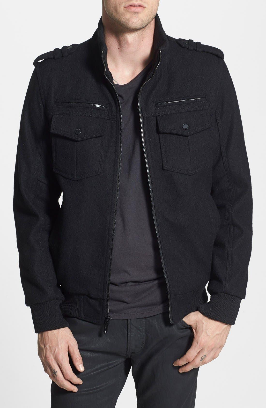 BLACK RIVET Wool Blend Bomber Jacket, Main, color, 001