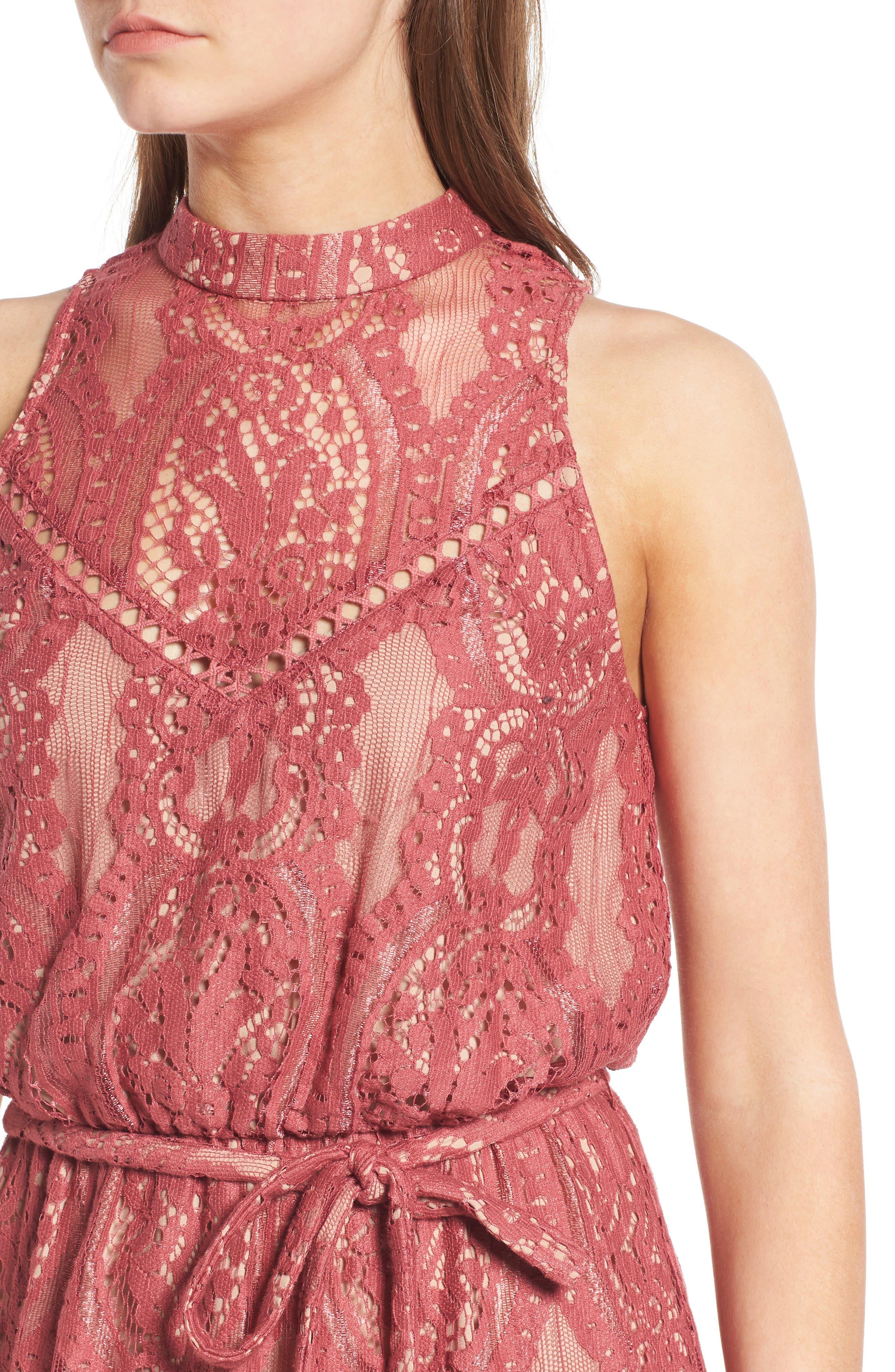WAYF, 'Portrait' Lace Midi Dress, Alternate thumbnail 4, color, 650