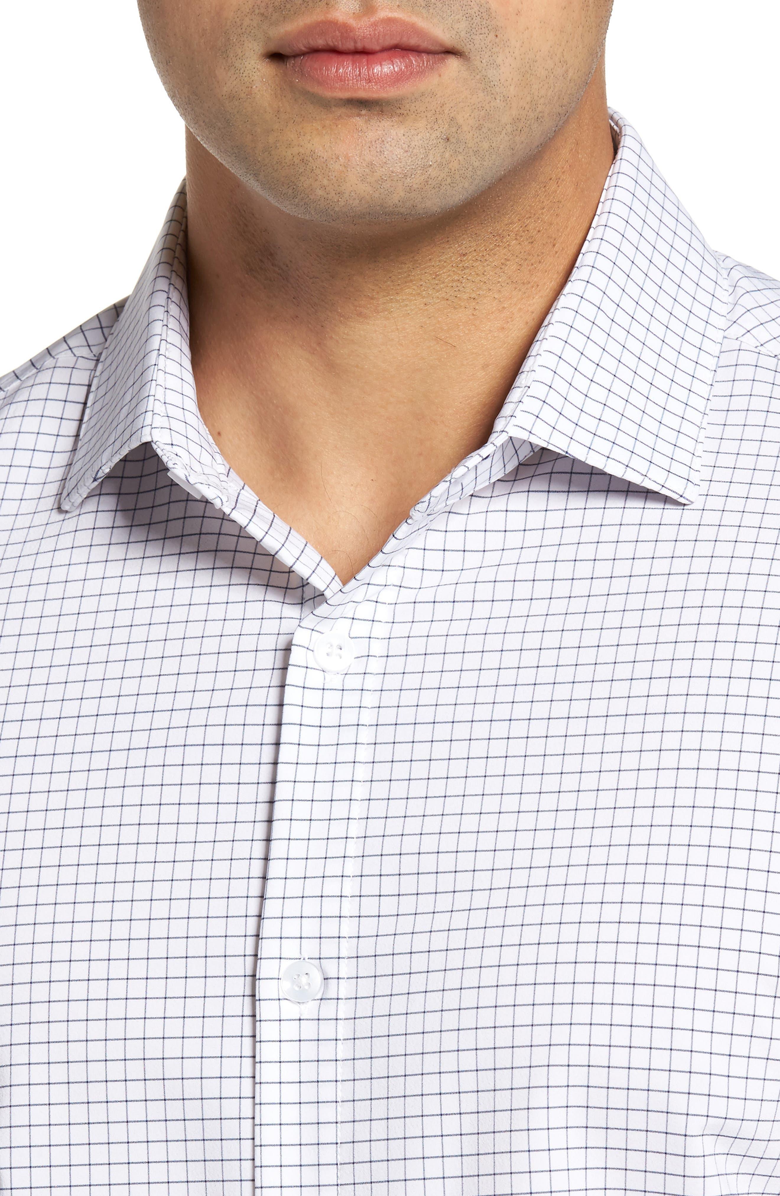 MIZZEN+MAIN, Kennedy Trim Fit Windowpane Sport Shirt, Alternate thumbnail 4, color, WHITE