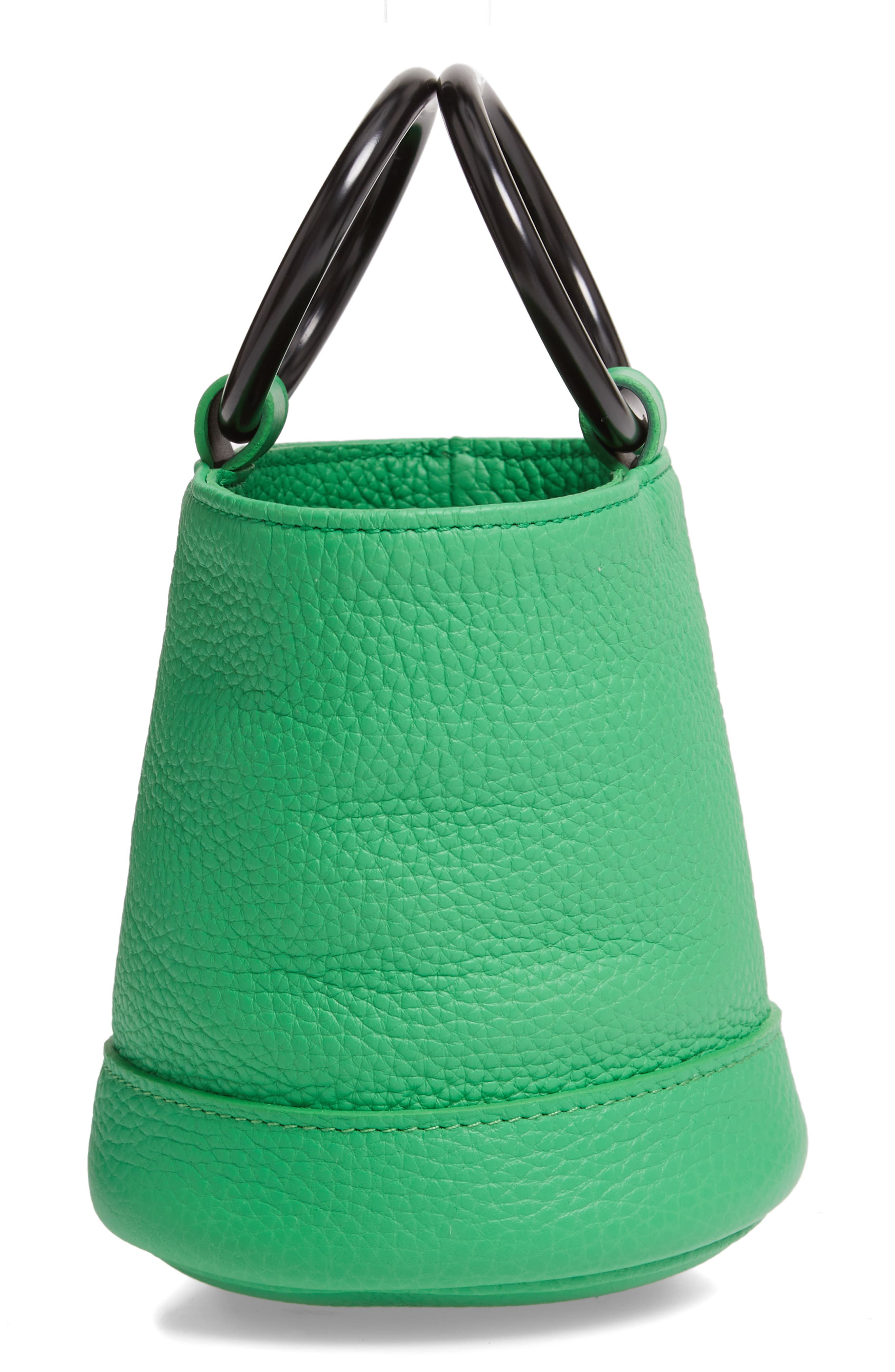 SIMON MILLER, Bonsai 15 Calfskin Leather Bucket Bag, Alternate thumbnail 5, color, NEON GREEN