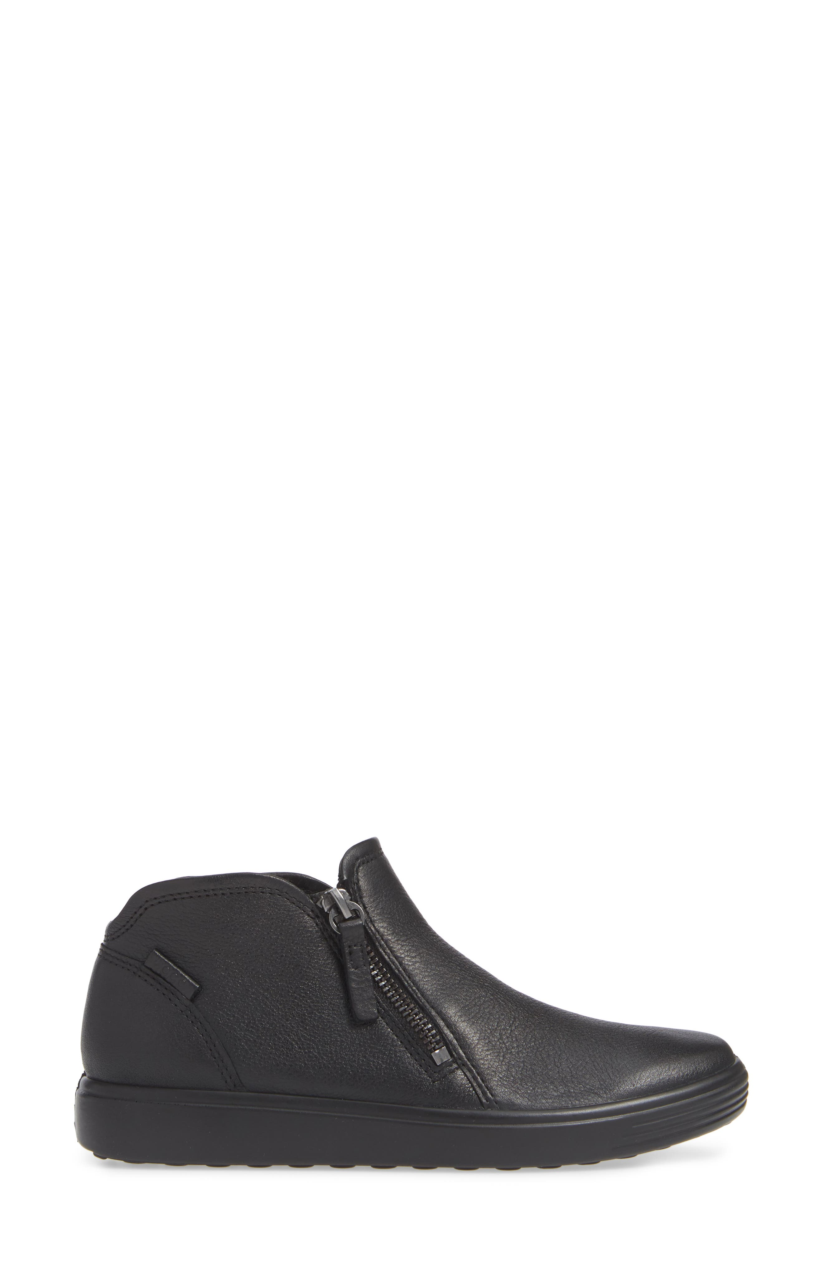 ECCO, Soft 7 Mid Top Sneaker, Alternate thumbnail 3, color, BLACK/ BLACK LEATHER