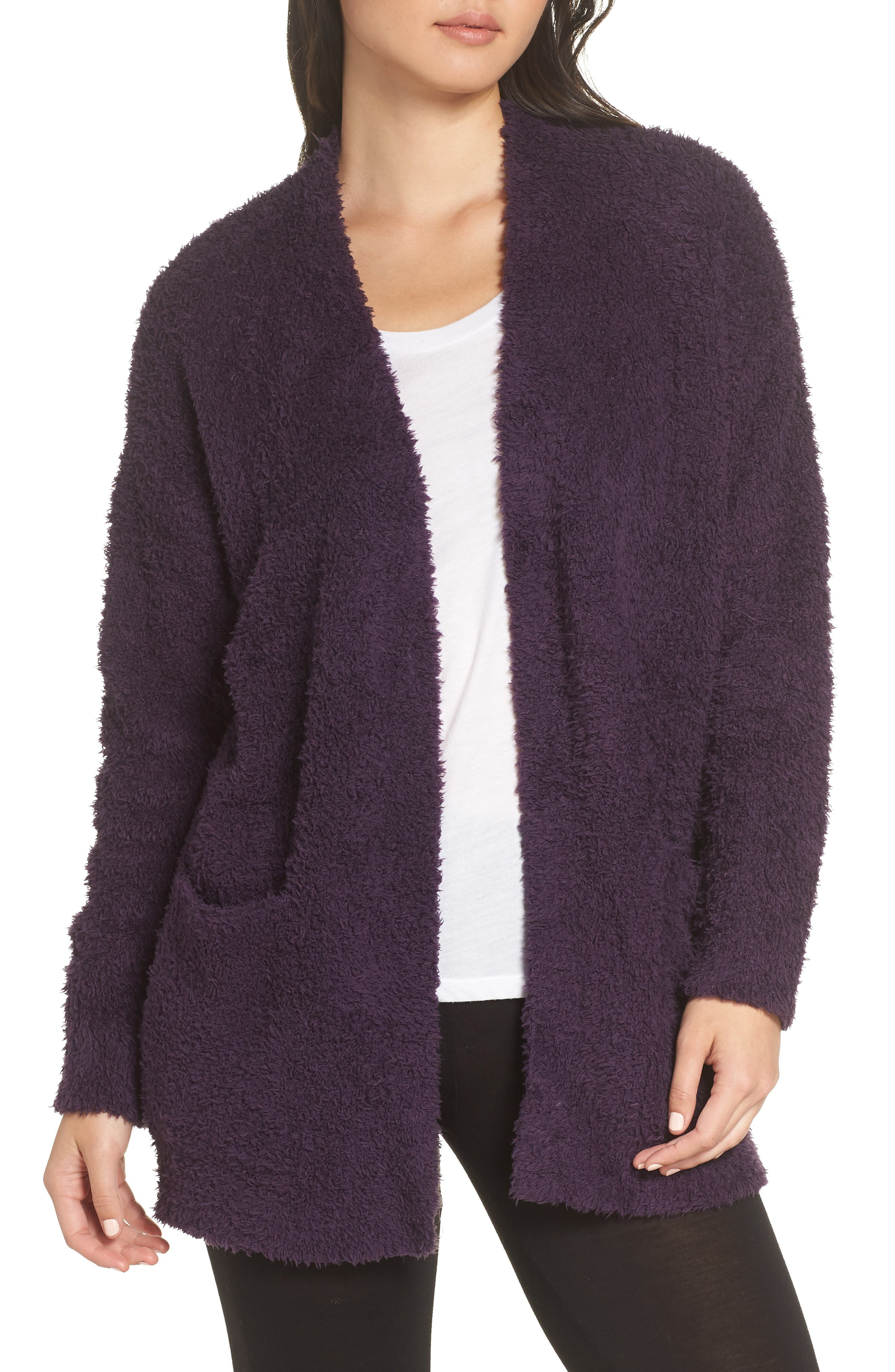 BAREFOOT DREAMS<SUP>®</SUP>, CozyChic<sup>®</sup> Cardigan, Main thumbnail 1, color, AMETHYST