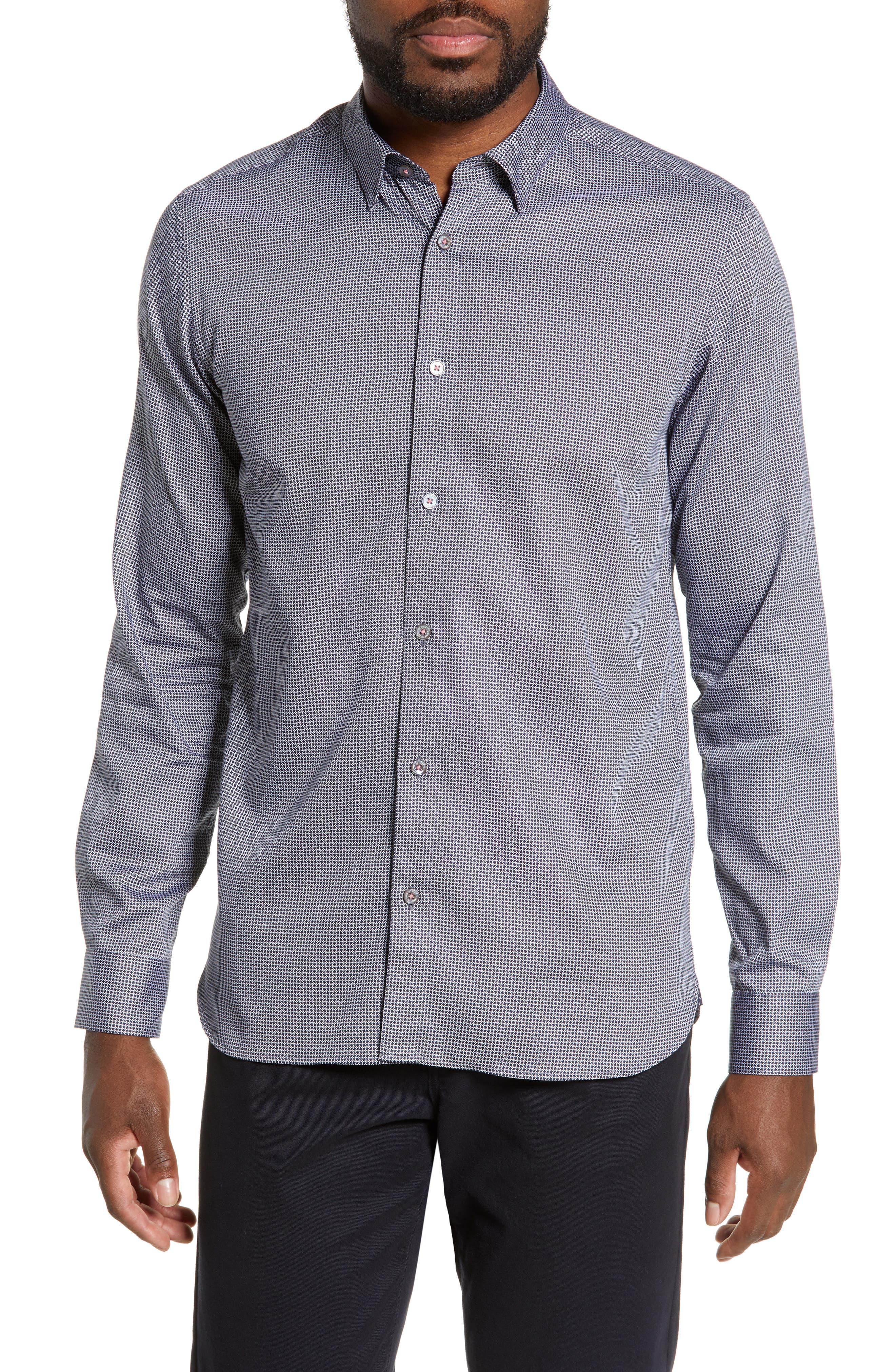 TED BAKER LONDON Bloosem Slim Fit Print Sport Shirt, Main, color, NAVY
