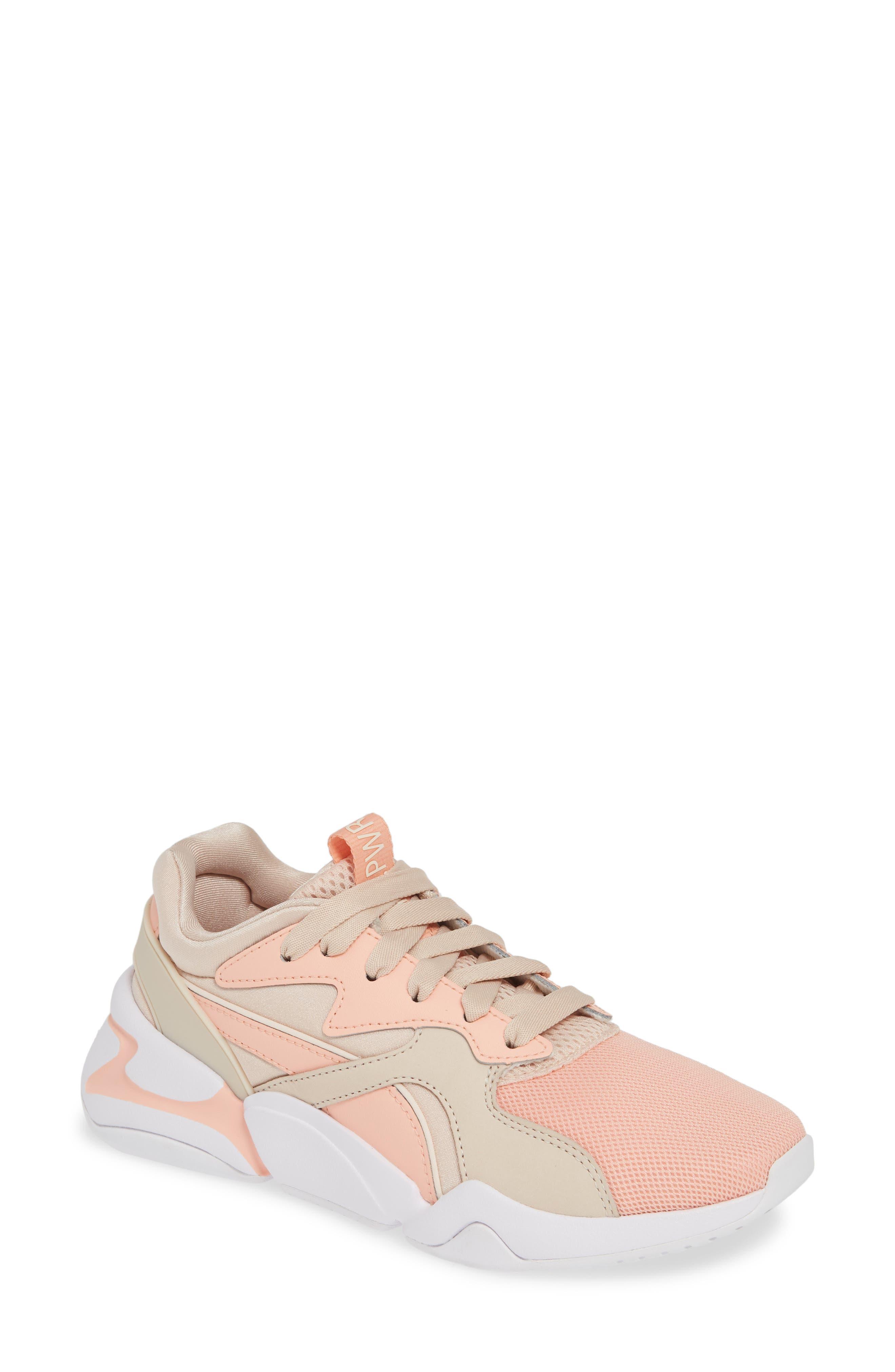 PUMA, Nova GRL PWR Sneaker, Main thumbnail 1, color, PEACH BUD/ PEARL BLUSH