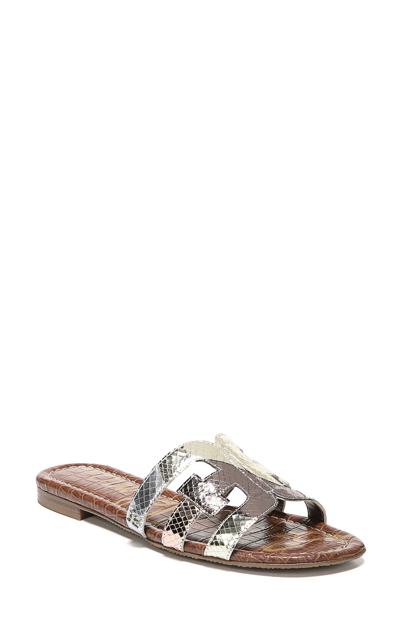 SAM EDELMAN, Bay Cutout Slide Sandal, Main thumbnail 1, color, METALLIC EMBOSSED LEATHER