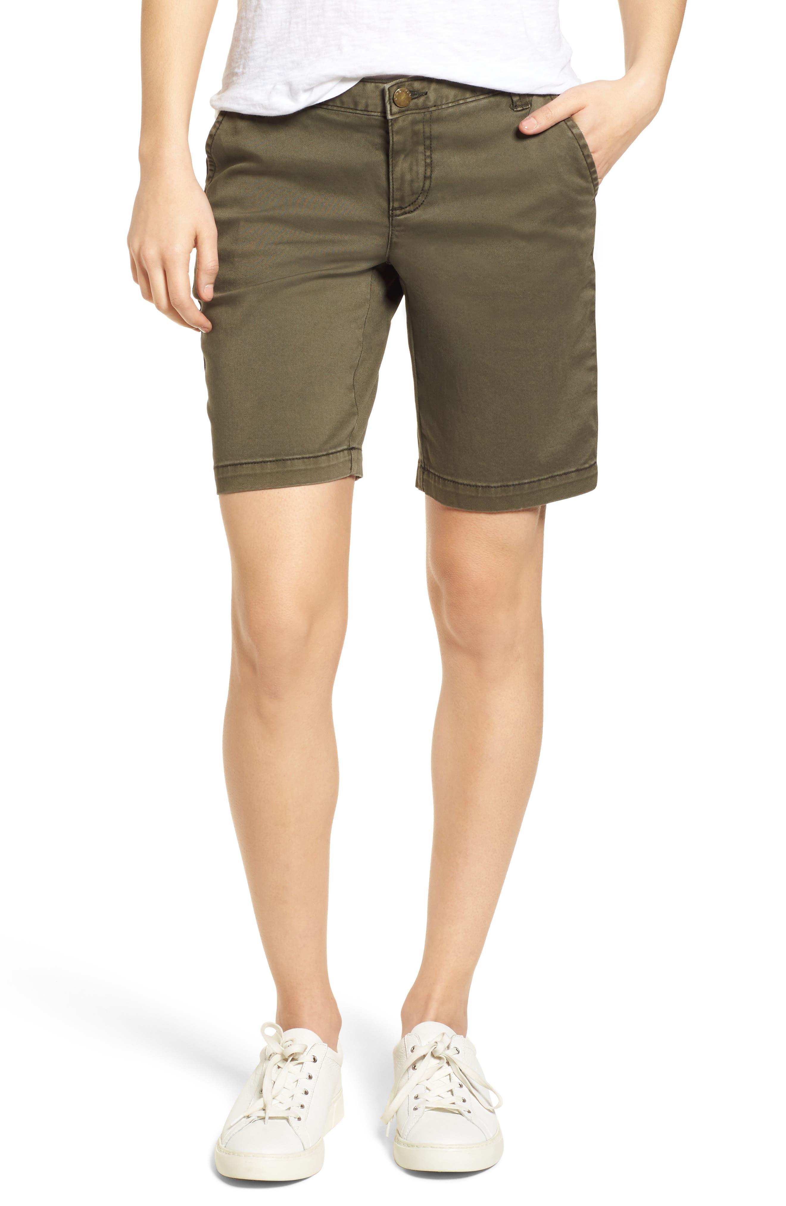 CASLON<SUP>®</SUP> Twill Shorts, Main, color, OLIVE SARMA